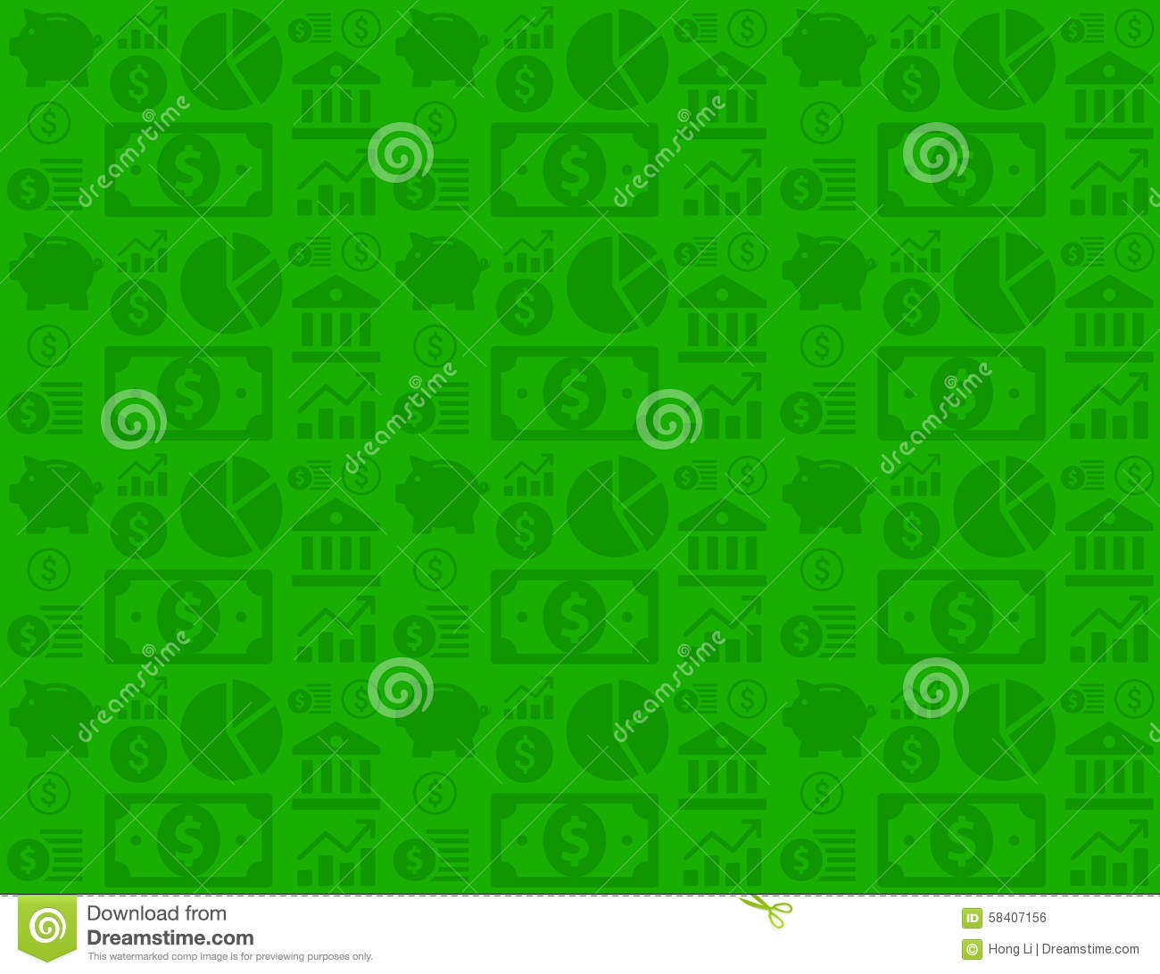 Finance Background: Green Seamless Financial Business Background Pattern With