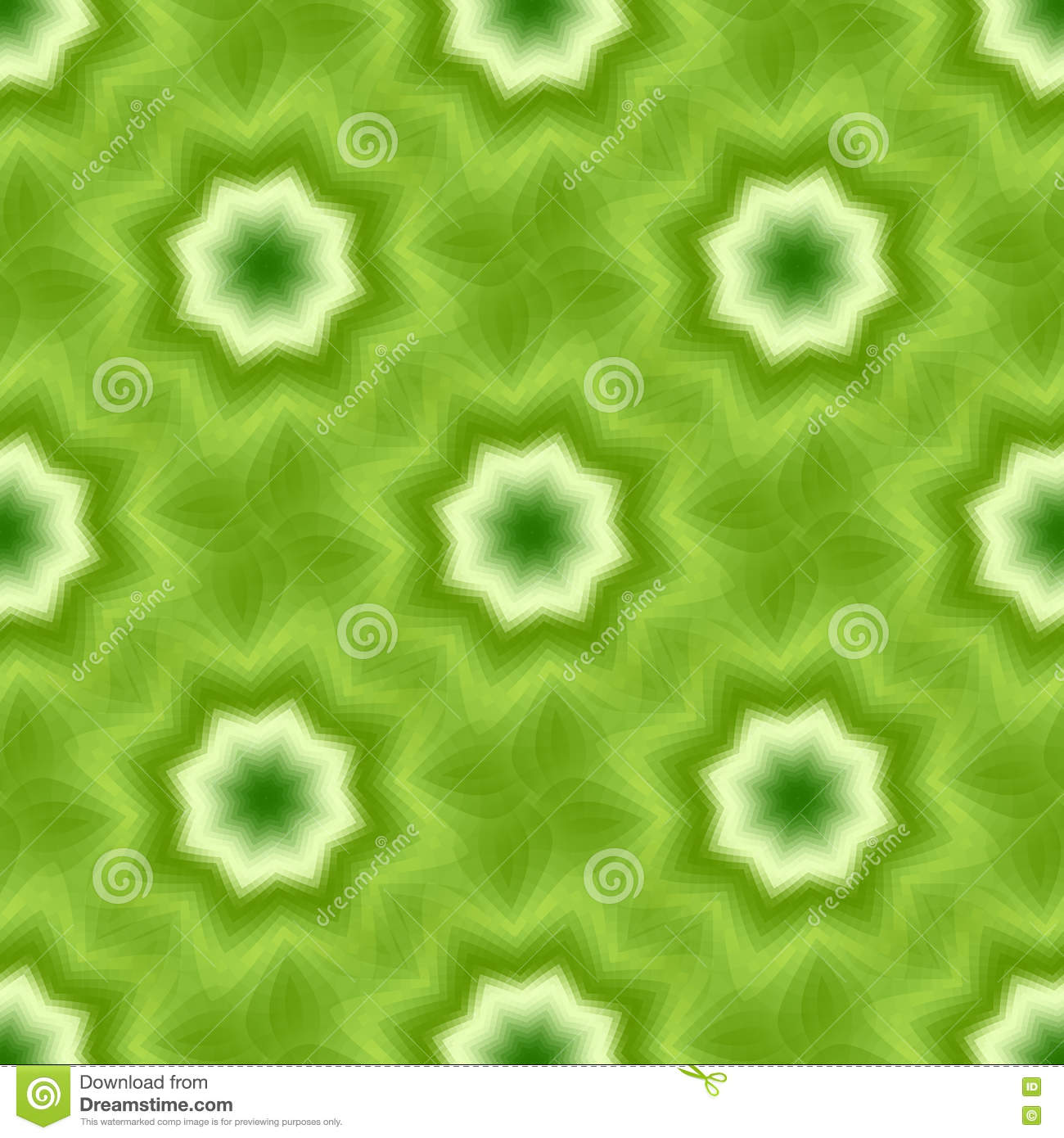 Green seamless fractal based tile with eight point star or flower and leaves
