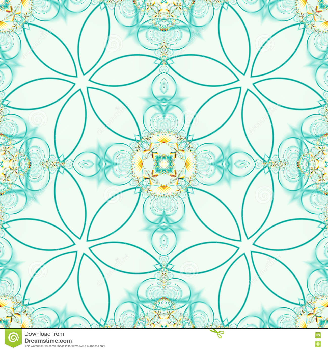 Green seamless fractal based tile with stylized flower design