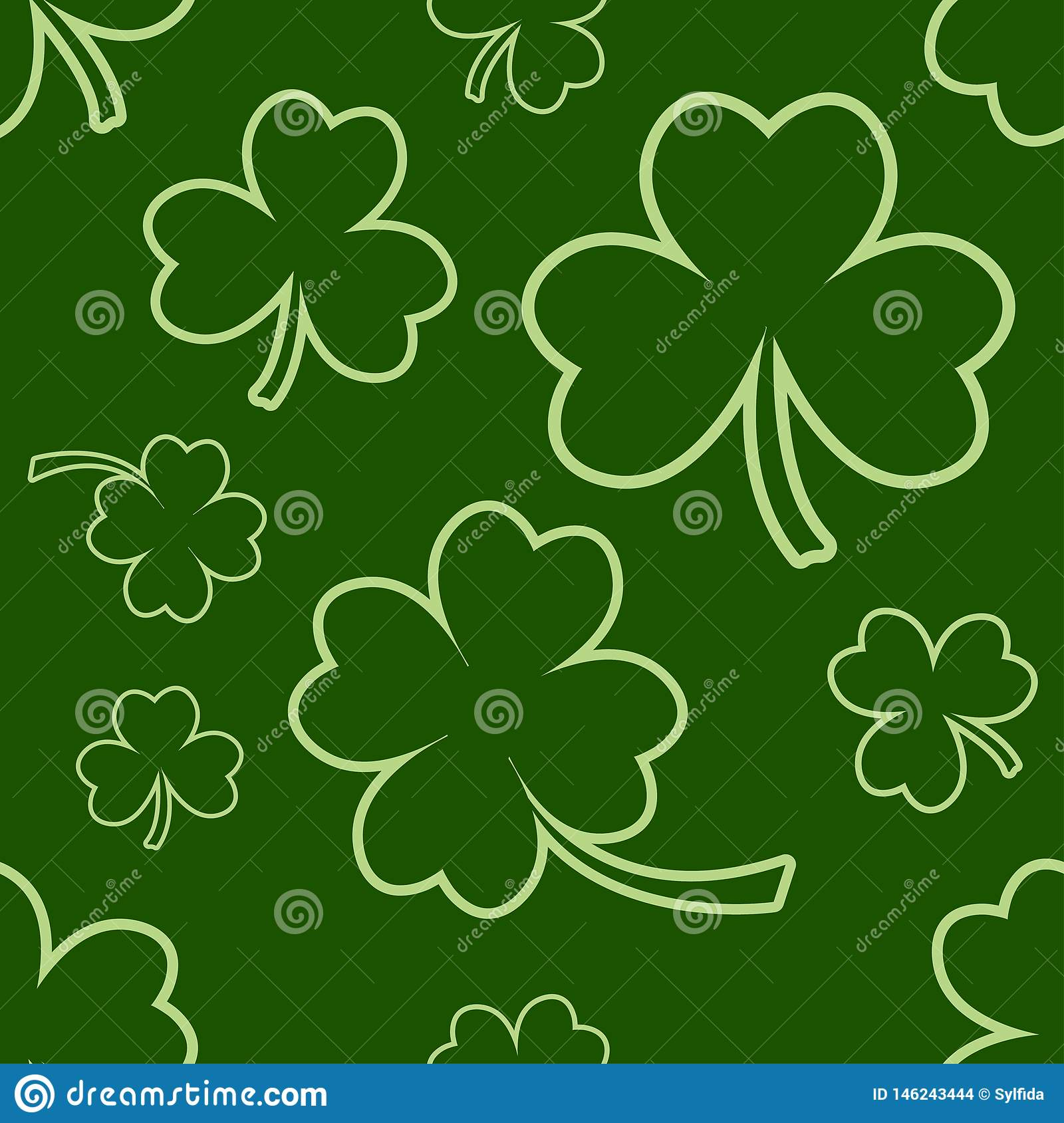 Green seamless pattern with four and tree leaf clovers for Saint Patrick`s Day. Vector