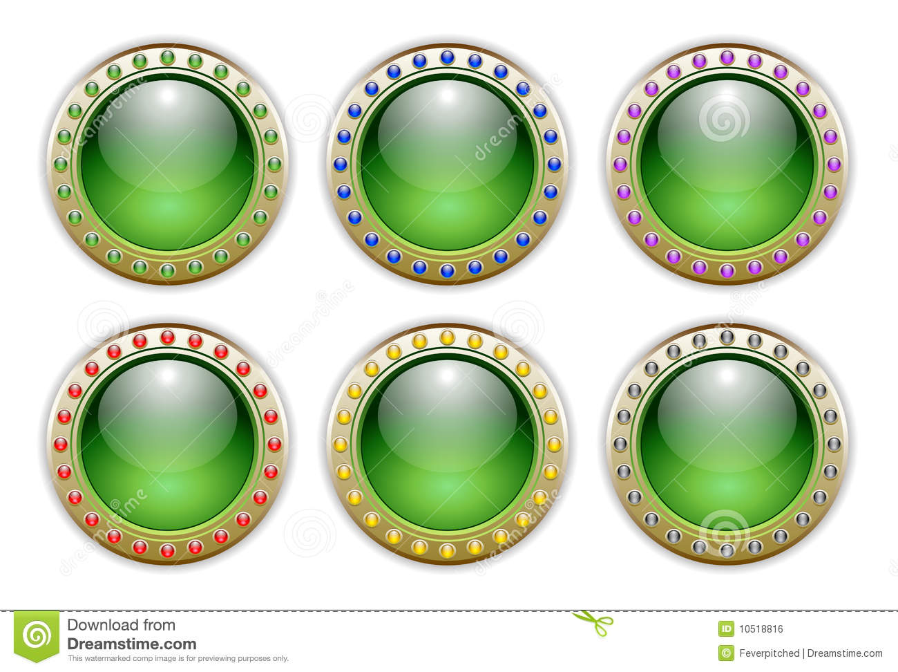 Green Set of 6 Color Combinations Glossy Buttons