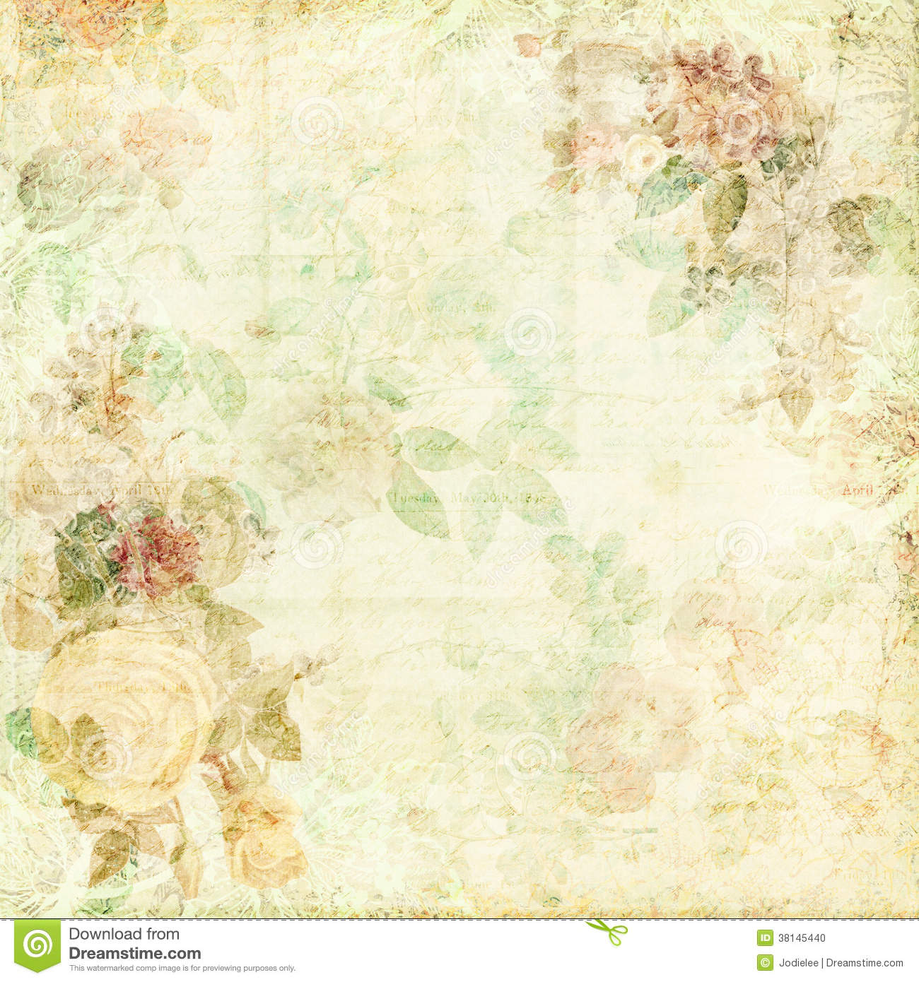 Green shabby chic background with flowers stock photo for Chic vintage
