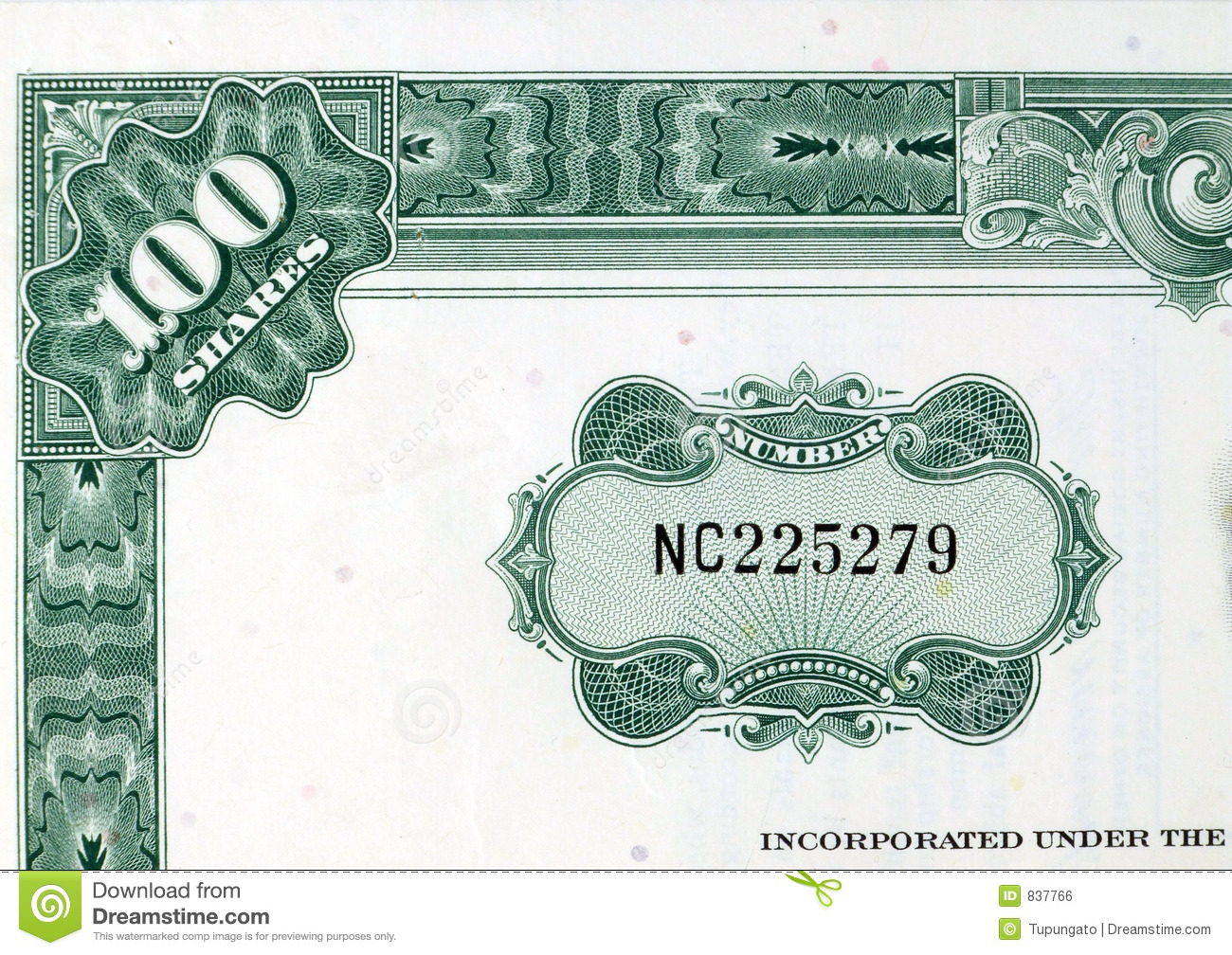Green Shares - Stock Certificate Stock Photo - Image: 837766