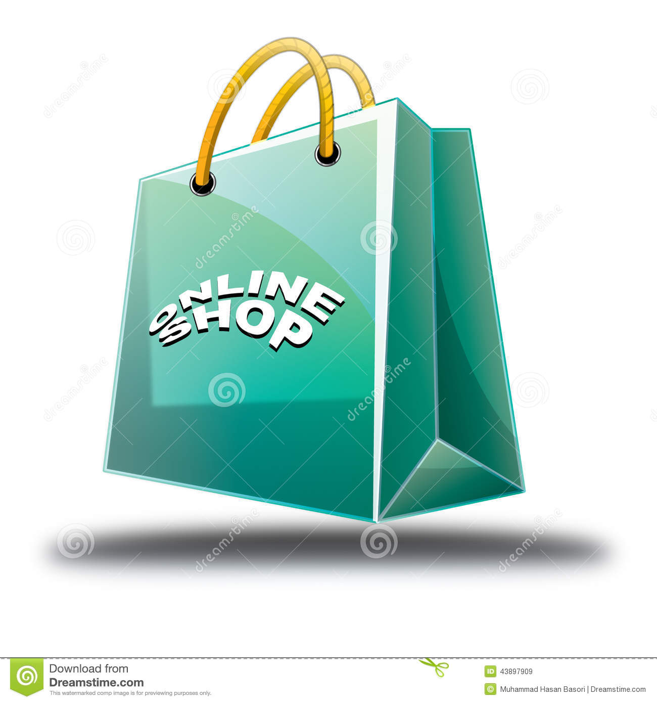 Green Shopping bag online shop icon, isolated on white background. EPS