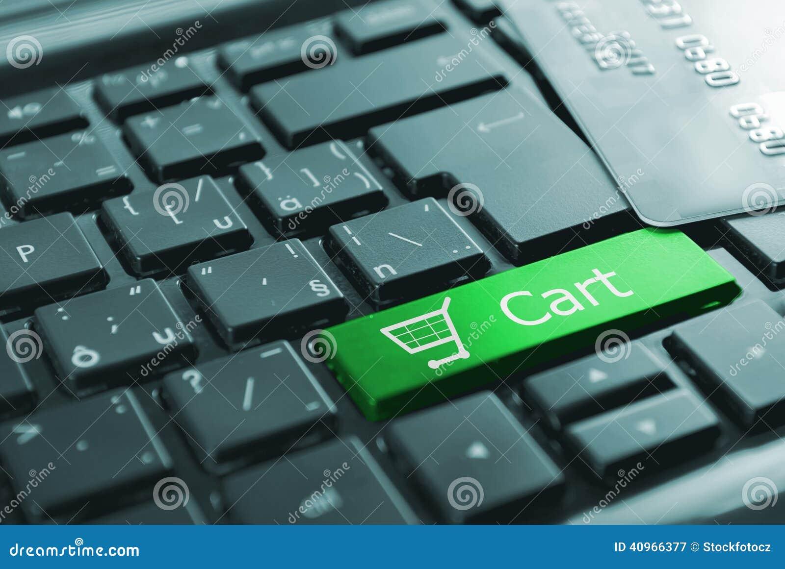 Green shopping cart button