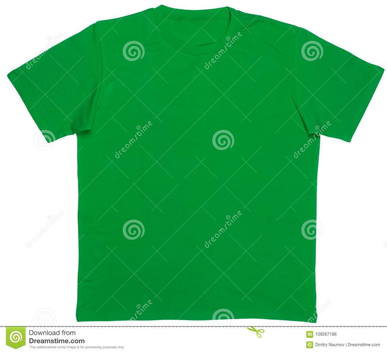 f37219f9c Green plain shortsleeve cotton T-Shirt template isolated on a white  background