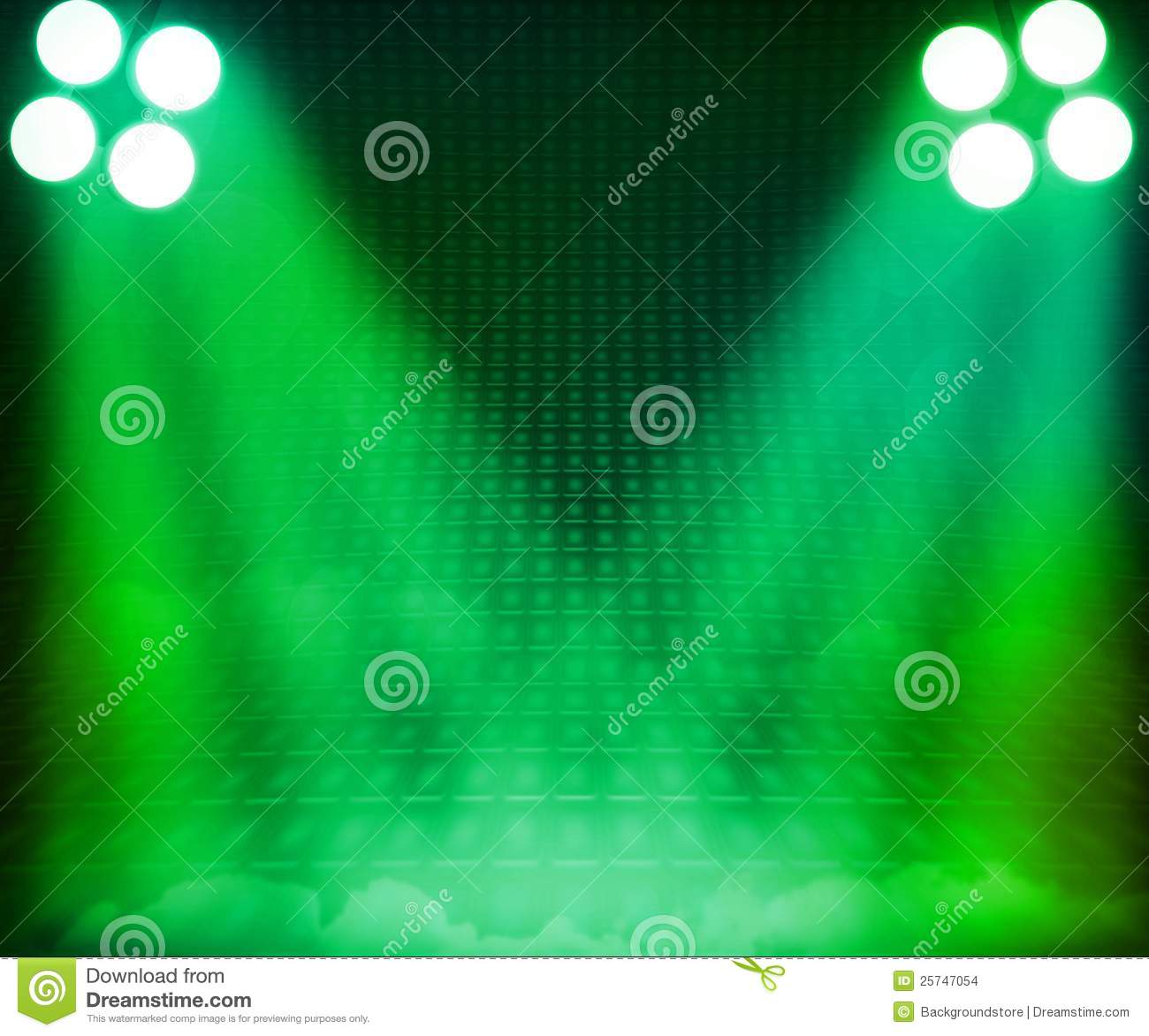 Green Show Room Spotlights Stage Background Stock Images