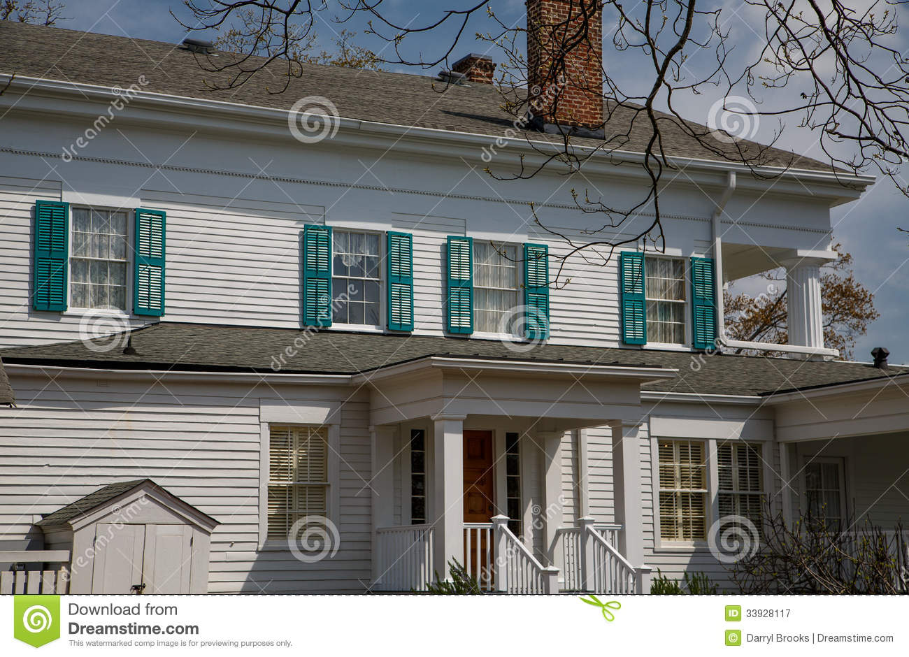 Green Shutters White Wood House Royalty Free Stock graphy Image 33