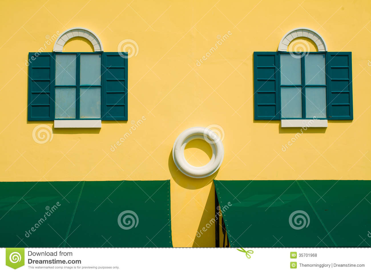 Green Shutters On Yellow Wall Stock Photo - Image of colorful ...