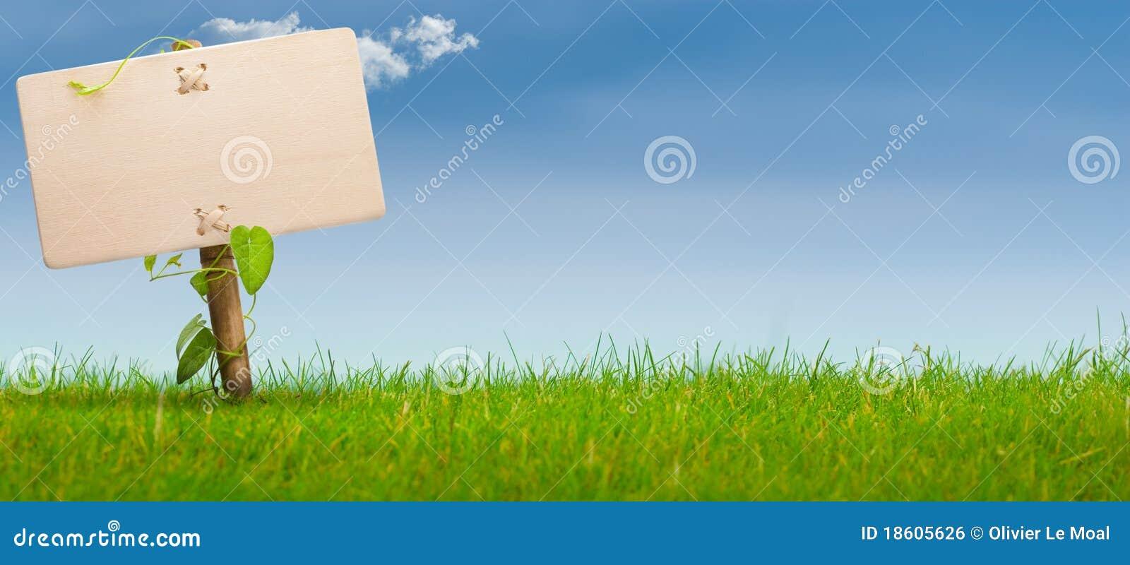 Green sign, horizontal banner, blue sky