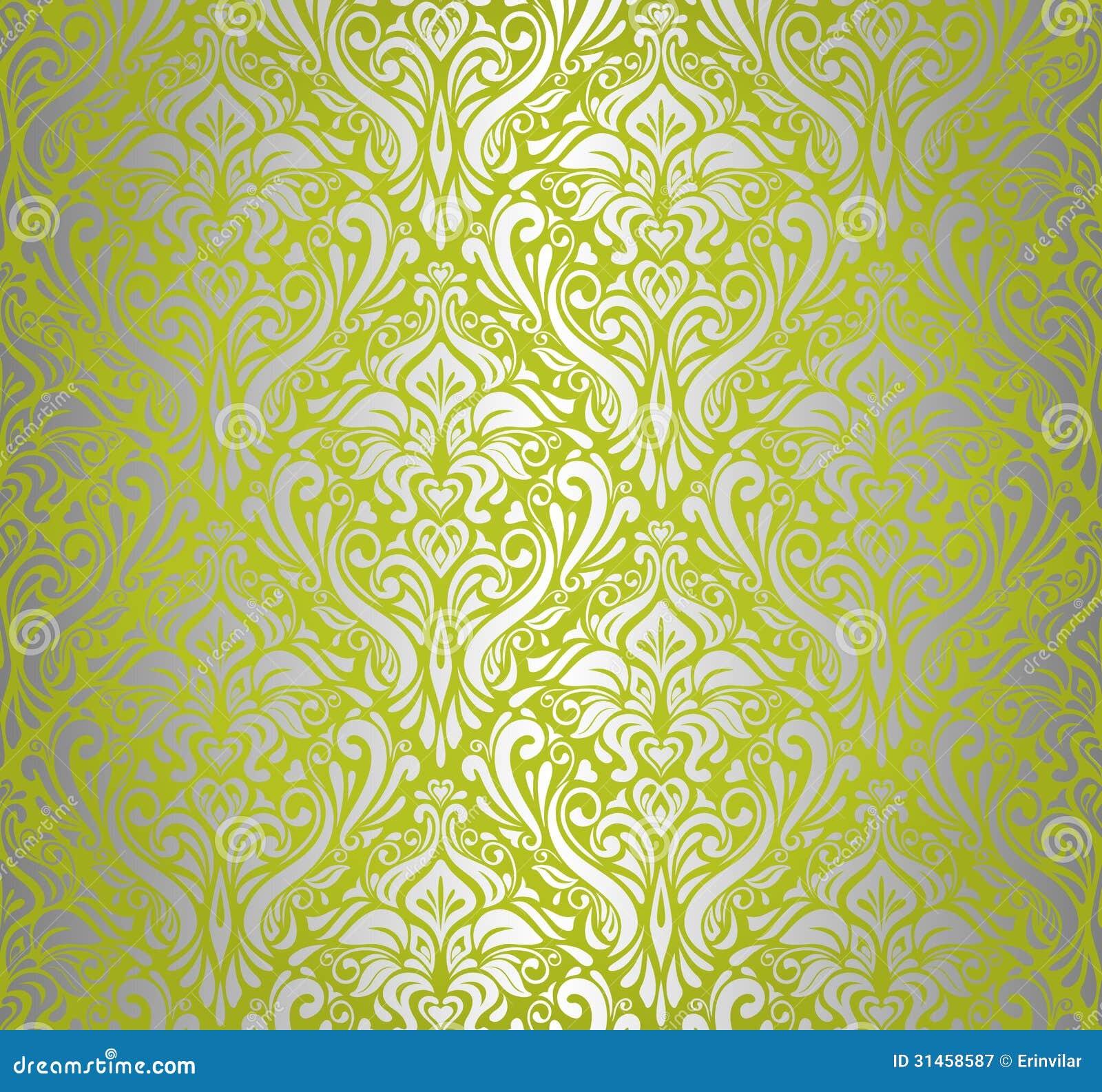 Green Silver Vintage Wallpaper