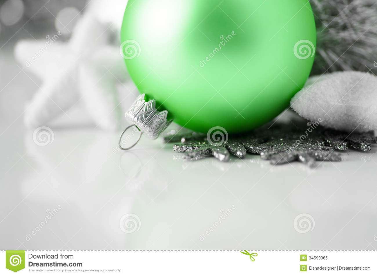 Green And Silver Xmas Decoration On White Backgrou Royalty