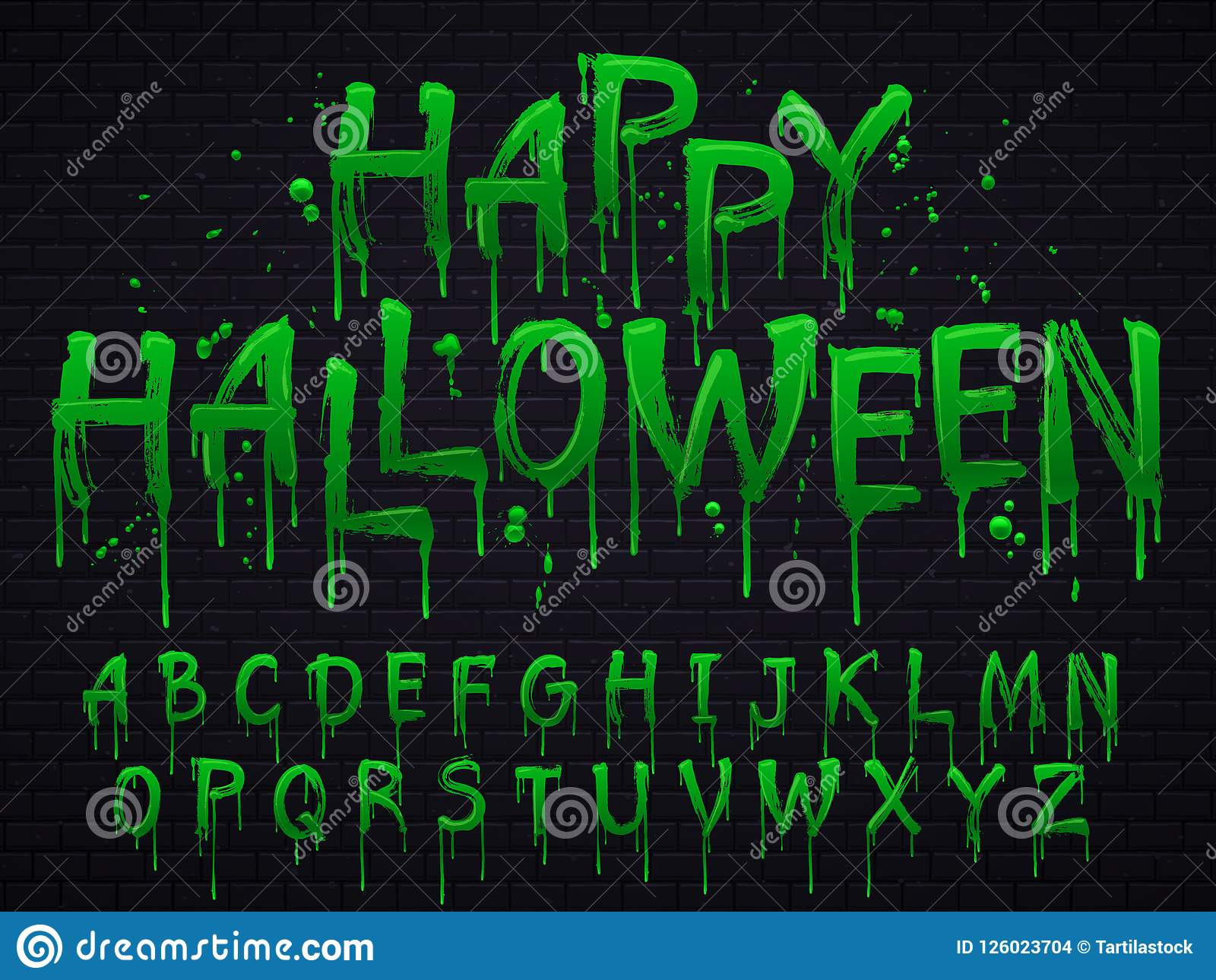 Green slime font. Halloween toxic waste letters, scary horror greens goo sign and splash liquid slimes vector isolated