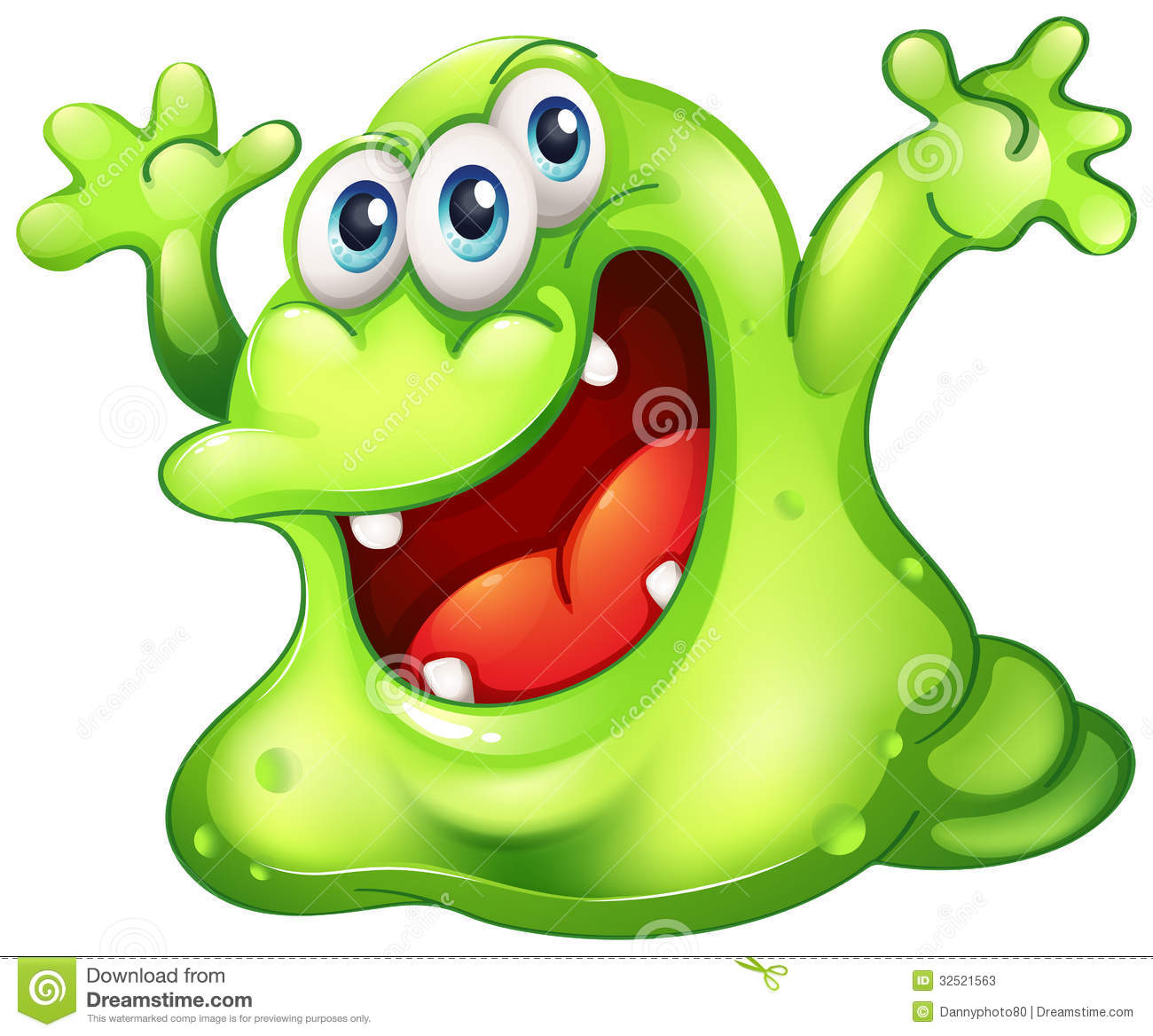Download A green slime monster stock vector. Illustration of mouth - 32521563