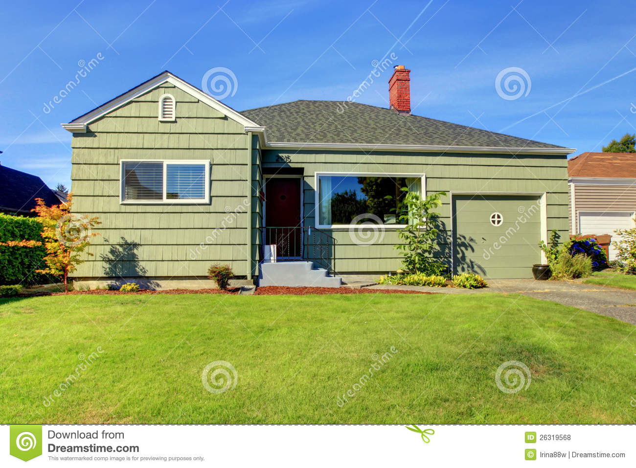 Green Small Green House With Garage Door Royalty Free