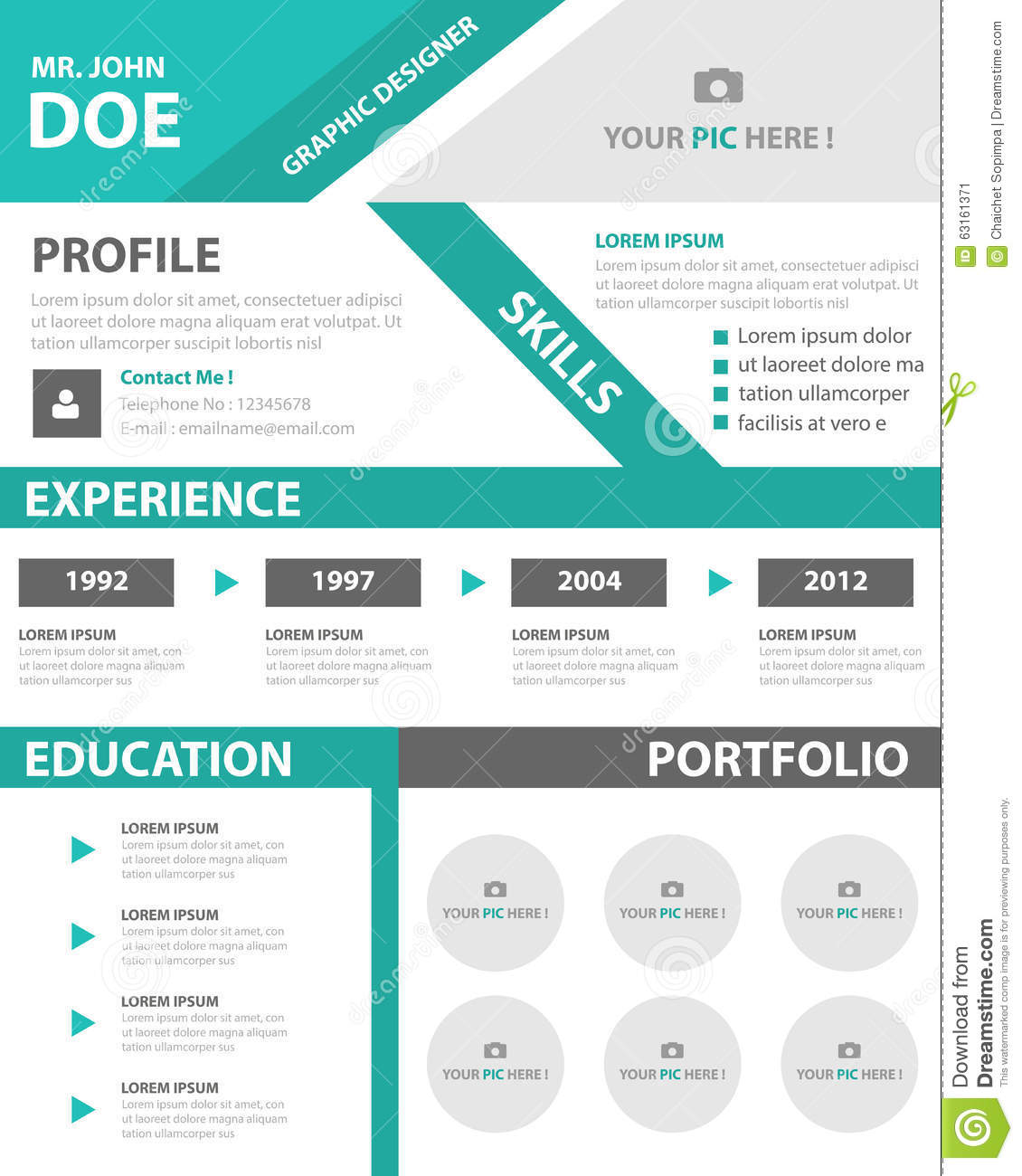 green smart creative resume business profile cv vitae template layout flat design for job