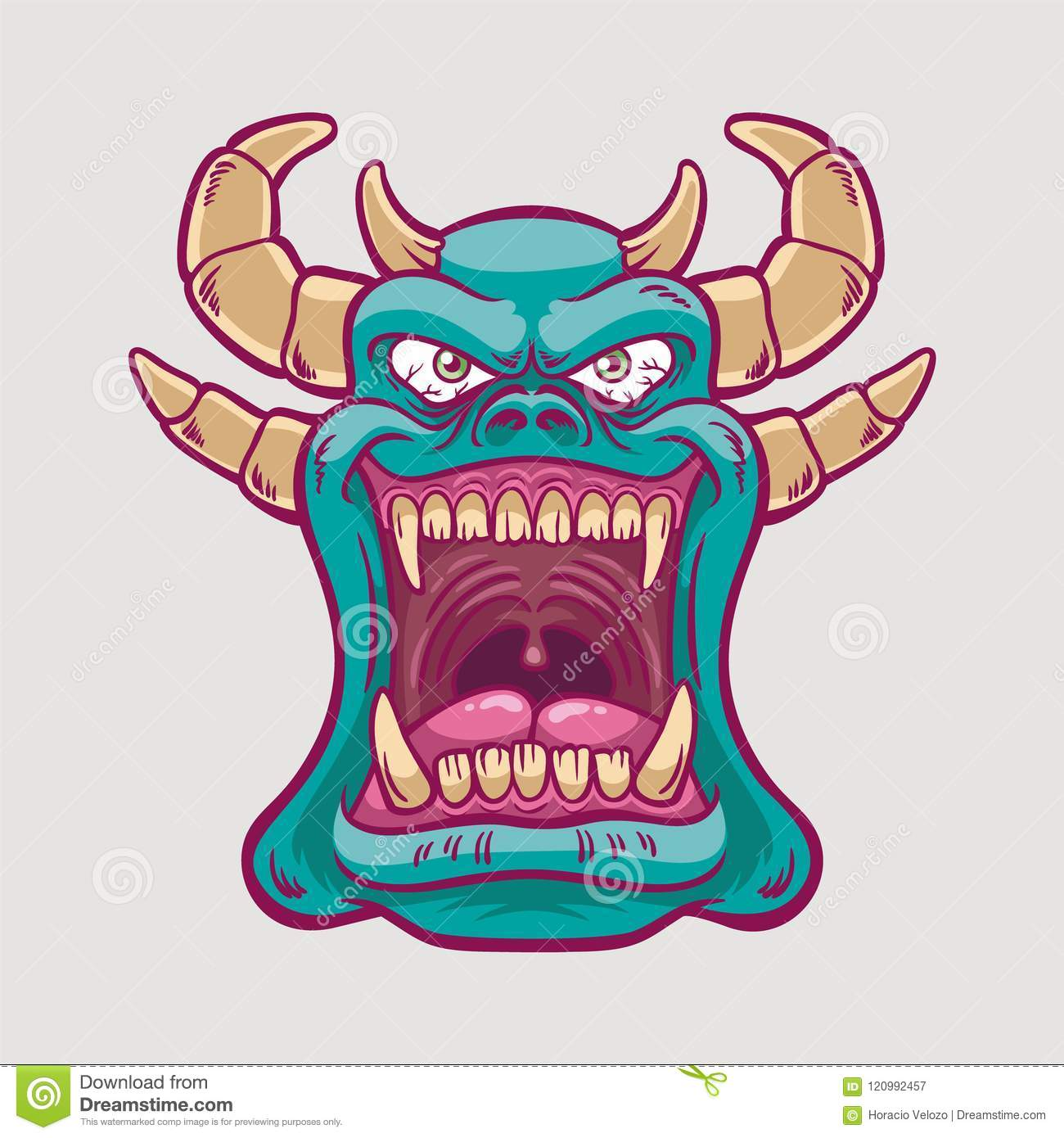 Green Smiling Monster With Horns Stock Vector Illustration Of