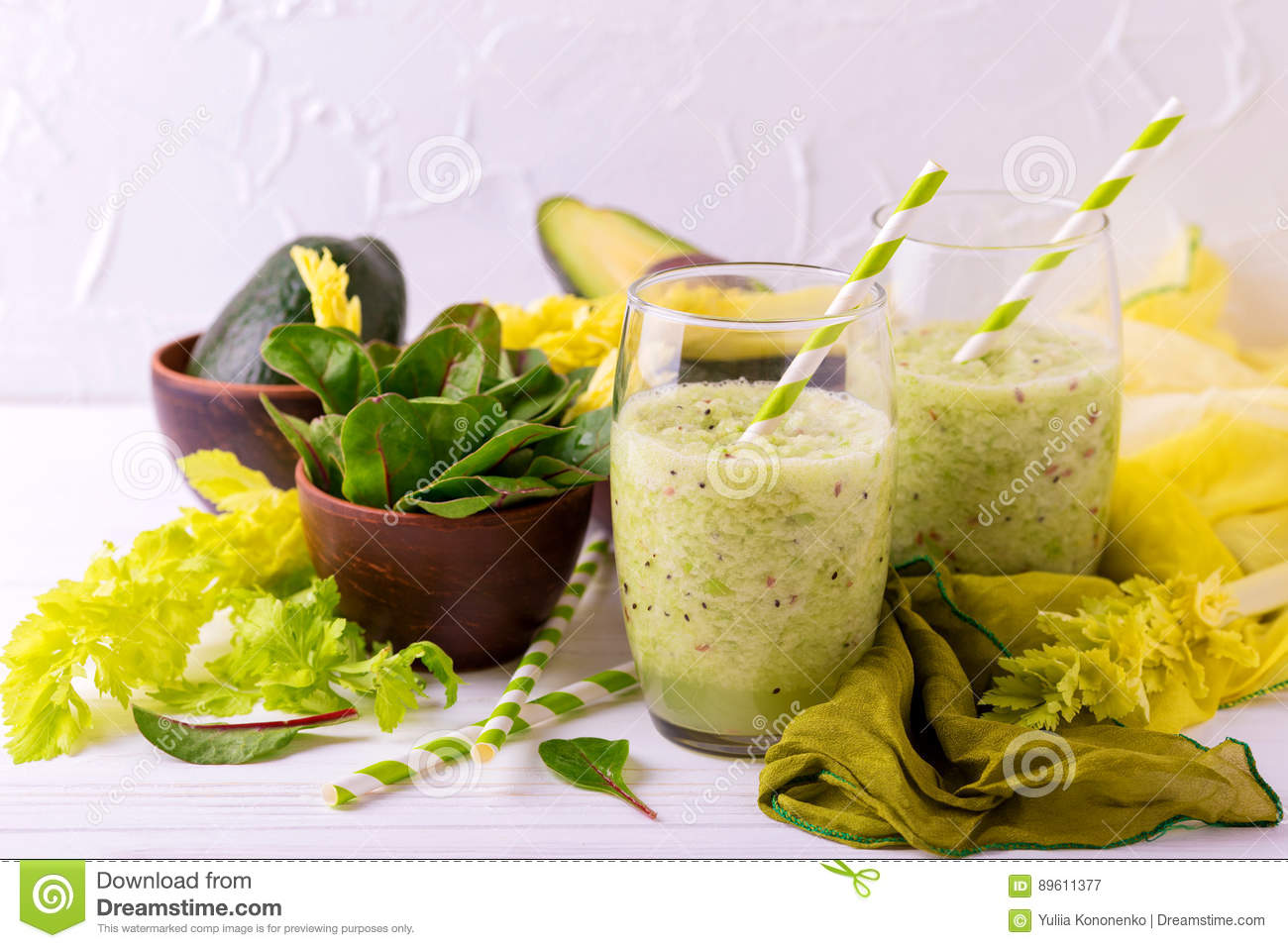 Green Smoothie With Avocado Spinach And Celery Healthy