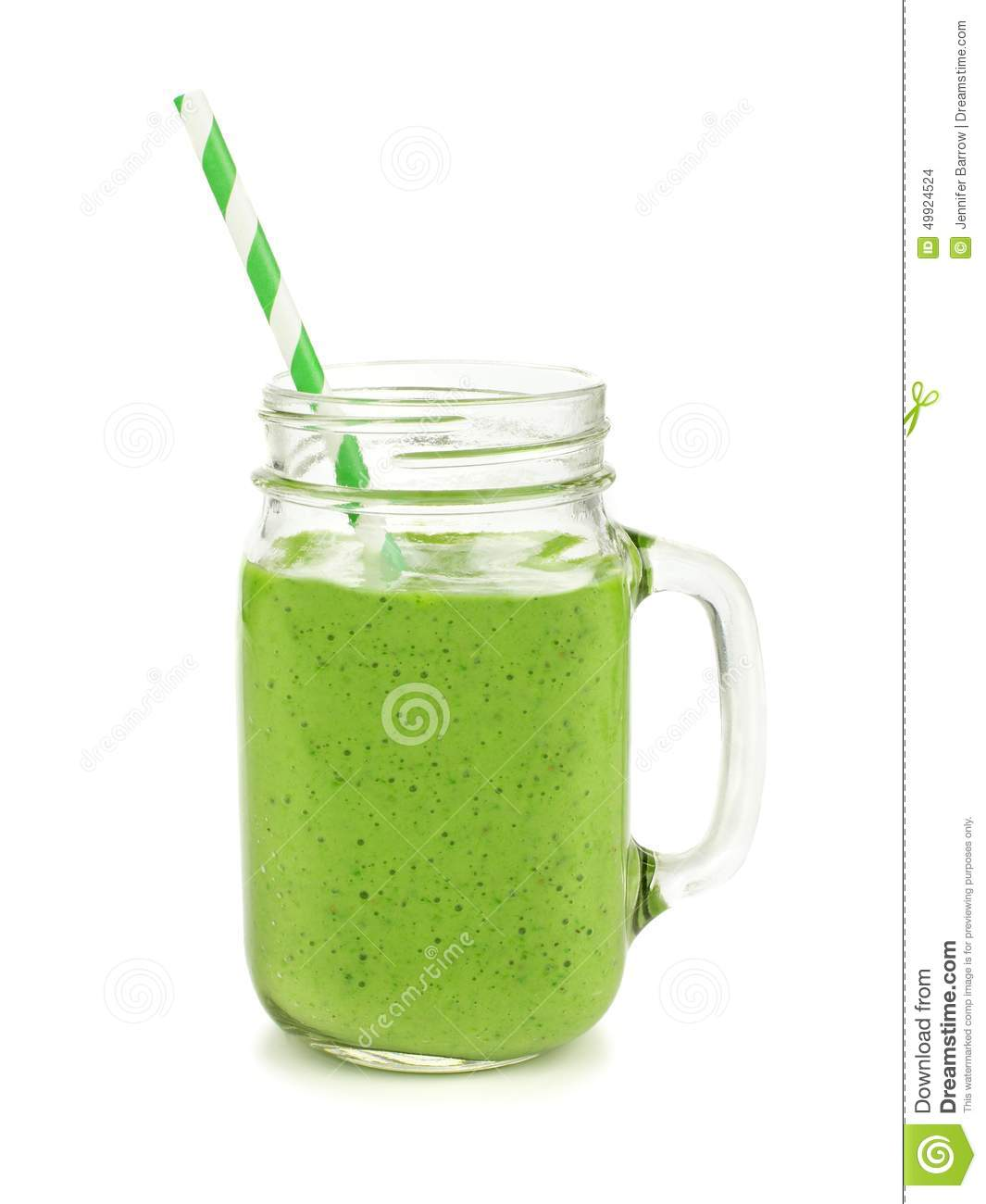 Green Smoothie In A Jar Mug Isolated Stock Photo - Image: 49924524