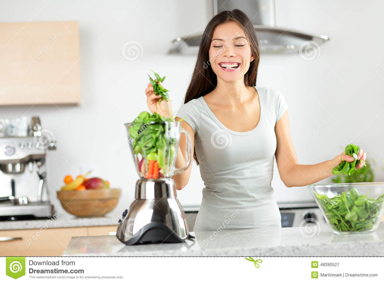 Green Smoothie Woman Making Vegetable Smoothies Stock ...