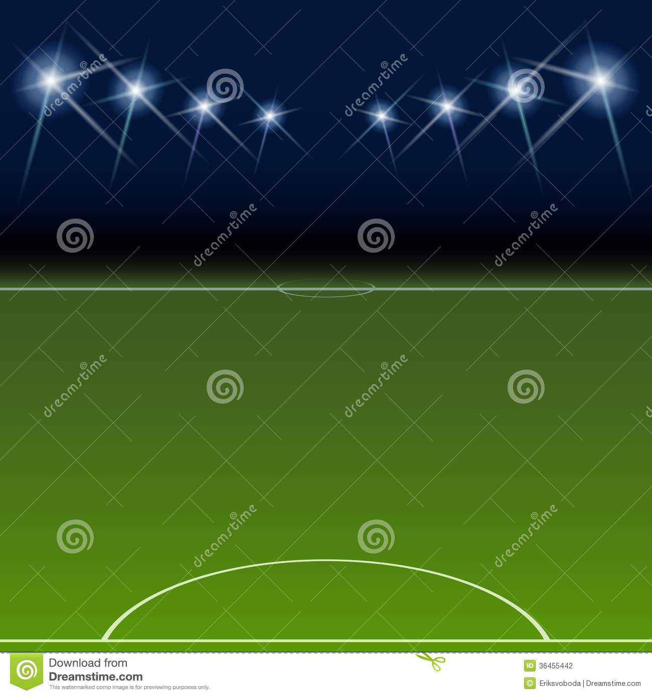Football Stadium Night Lights: Green Soccer Field, Bright Spotlights, Stock Photography