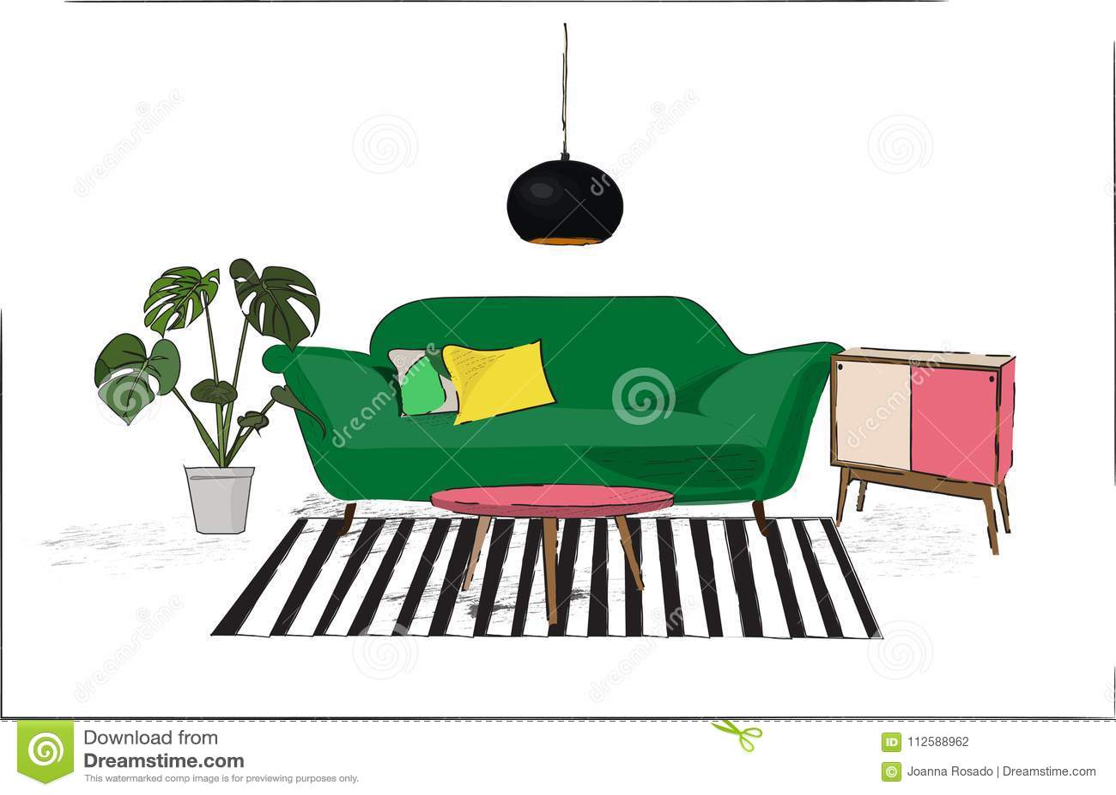 Vector Interior Design Sketch Illustration Living Room