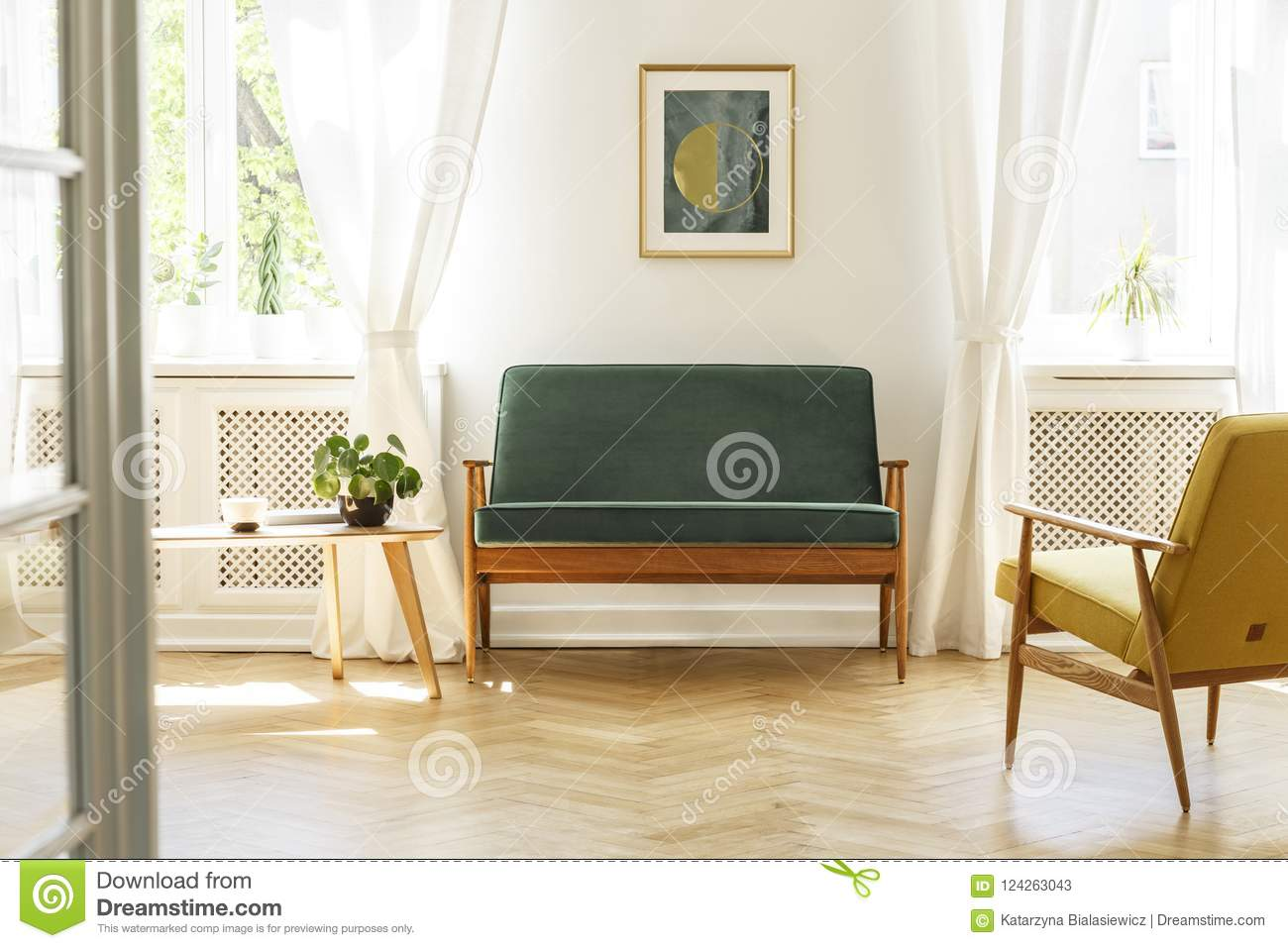 Astonishing Green Sofa With Dark Wooden Frame And A Comfy Yellow Evergreenethics Interior Chair Design Evergreenethicsorg