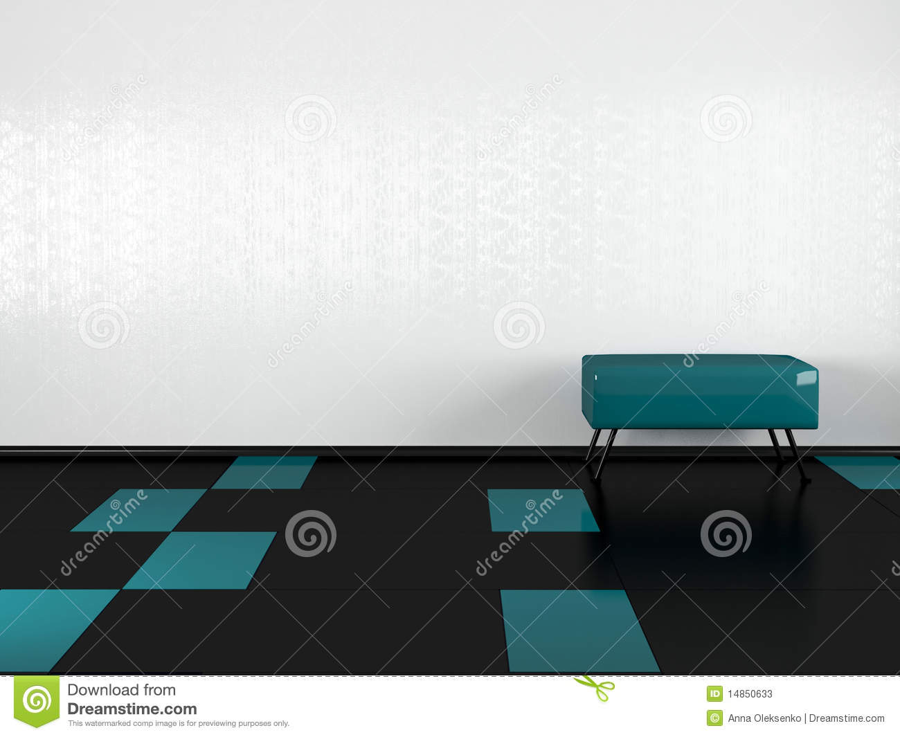 Green sofa in the empty white room