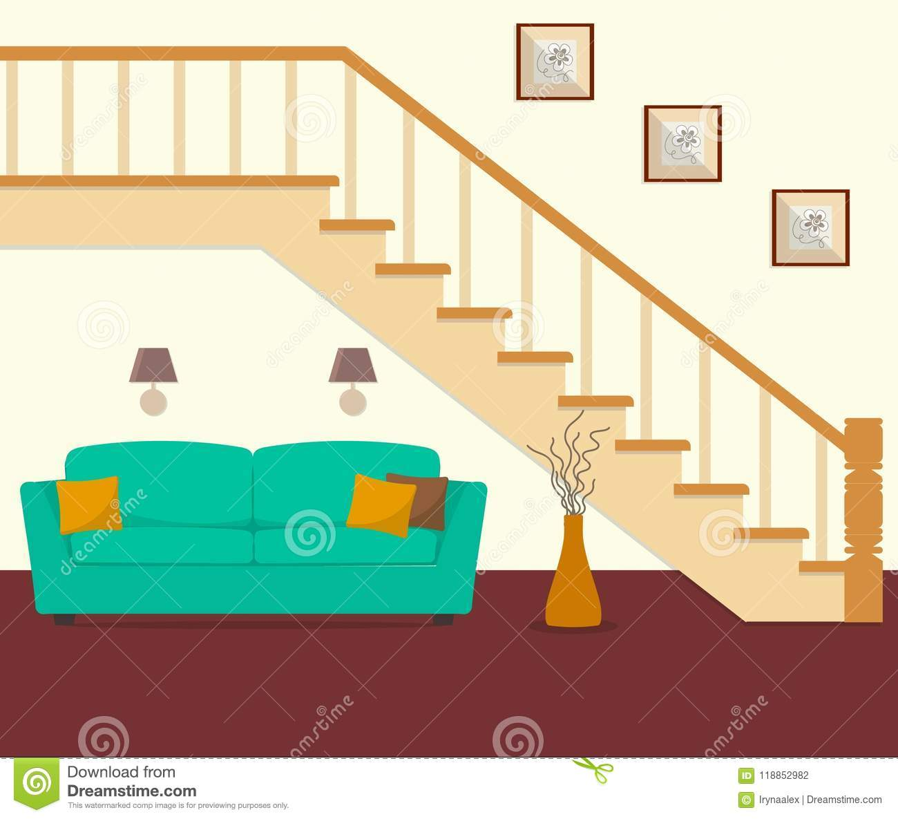 Green Sofa Located Under The Stairs Stock Vector Illustration Of