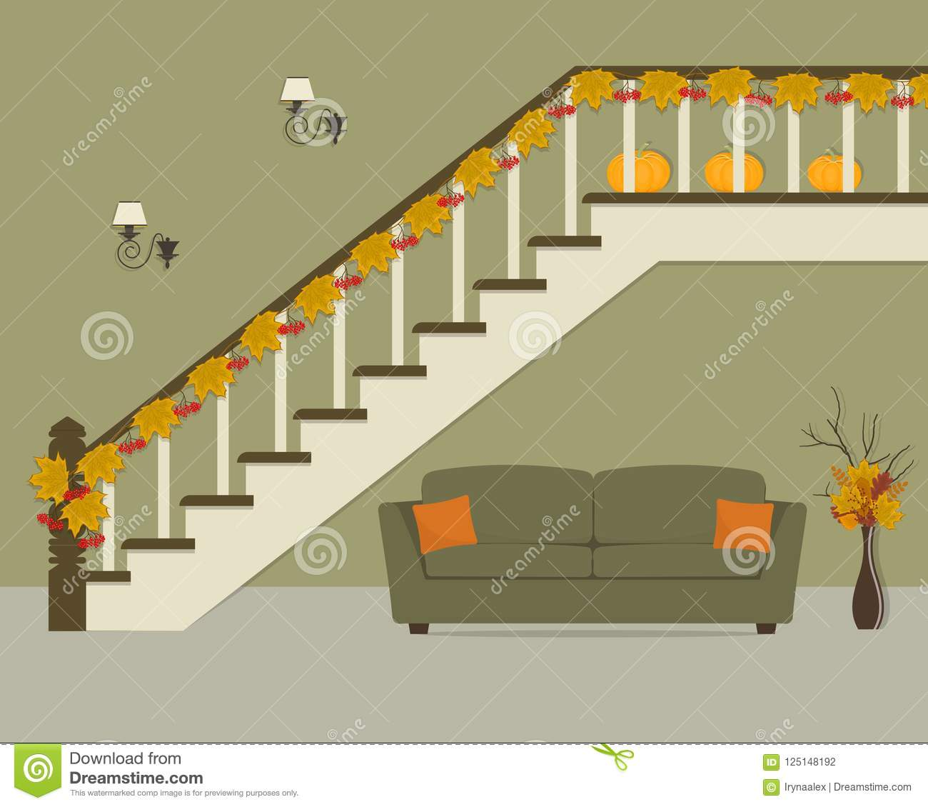 Download Green Sofa With Orange Pillows, Located Under The Stairs,  Decorated With Maple Leaves