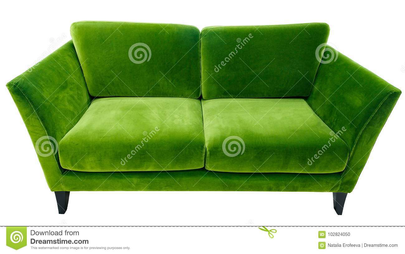 Green sofa. Soft velour fabric couch. Classic modern divan on isolated background
