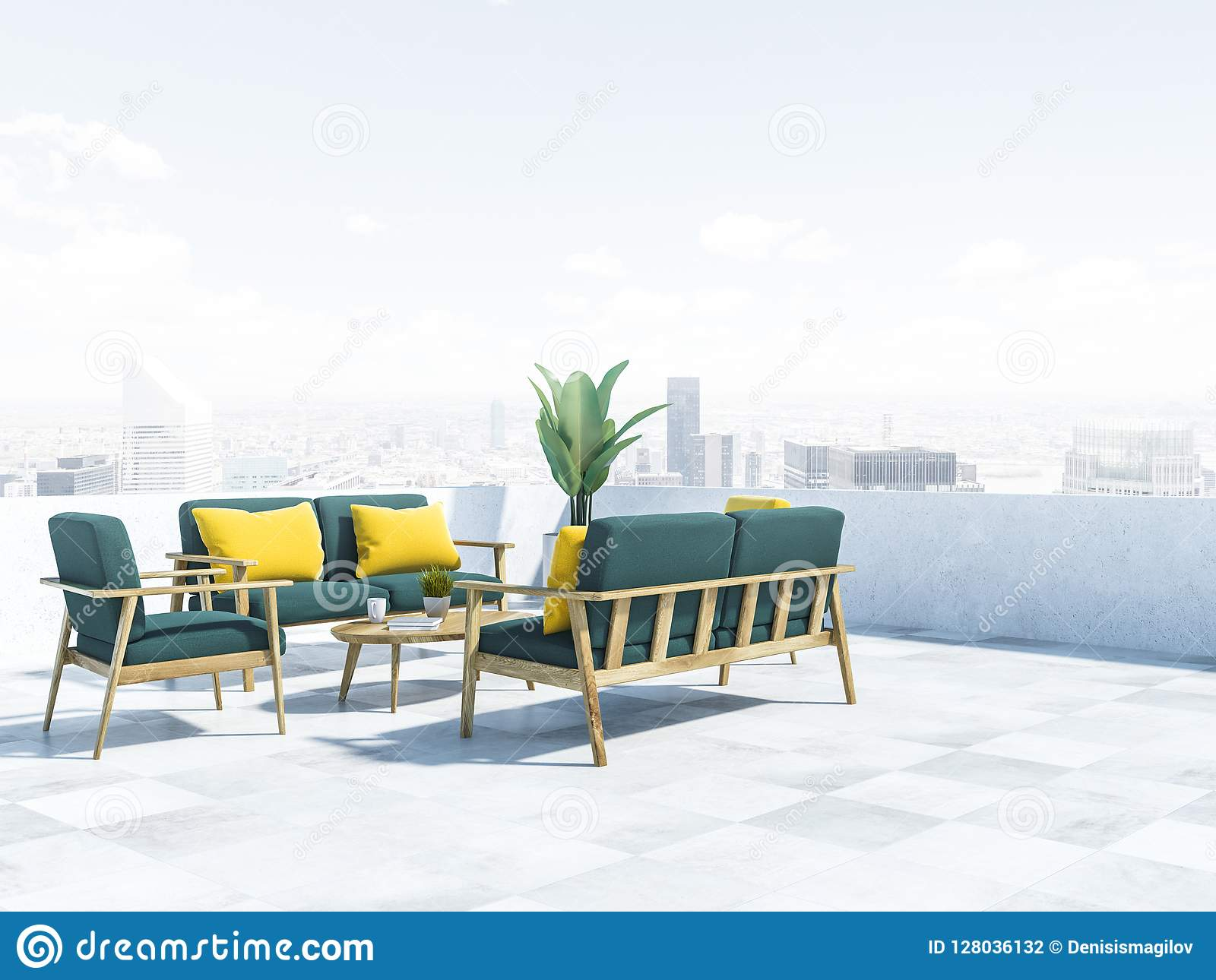 Superieur Green Sofas On Balcony, Cityscape