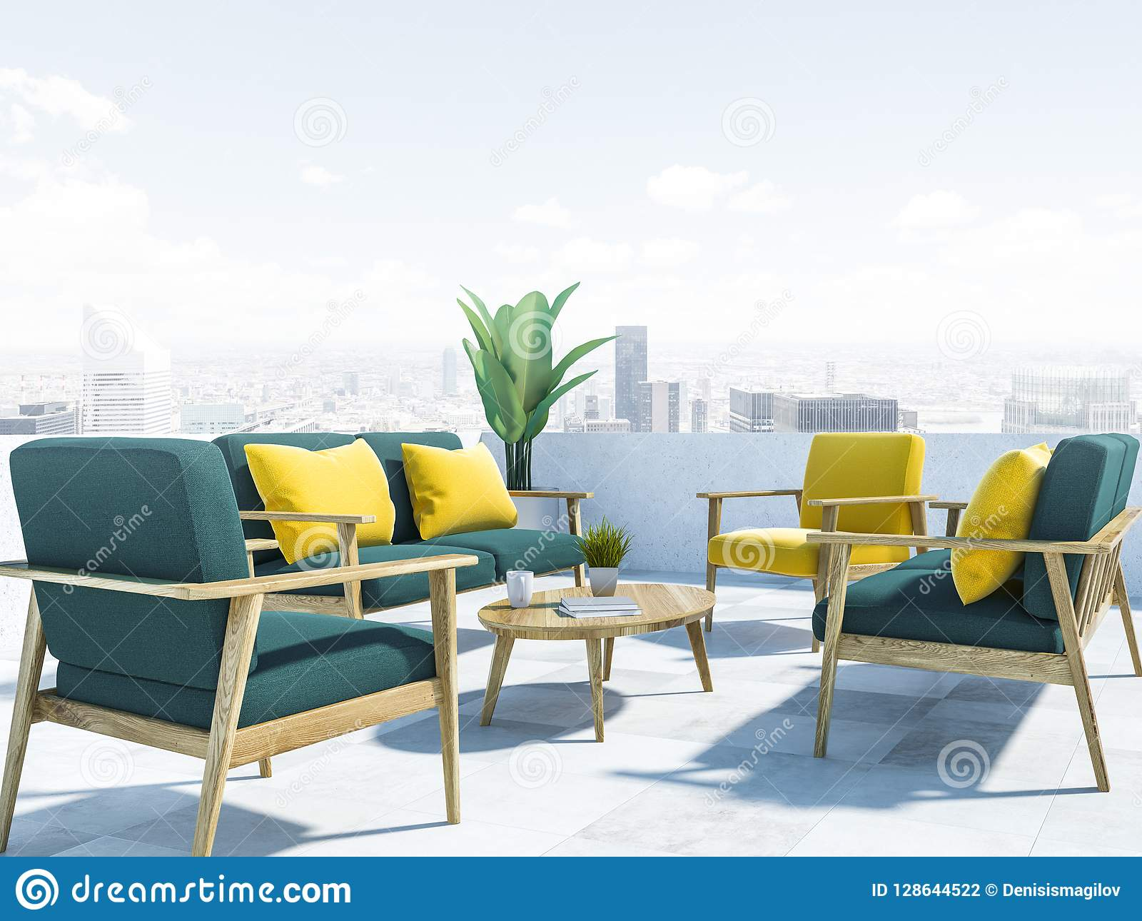Merveilleux Green Sofas On Balcony, Cityscape Close Up