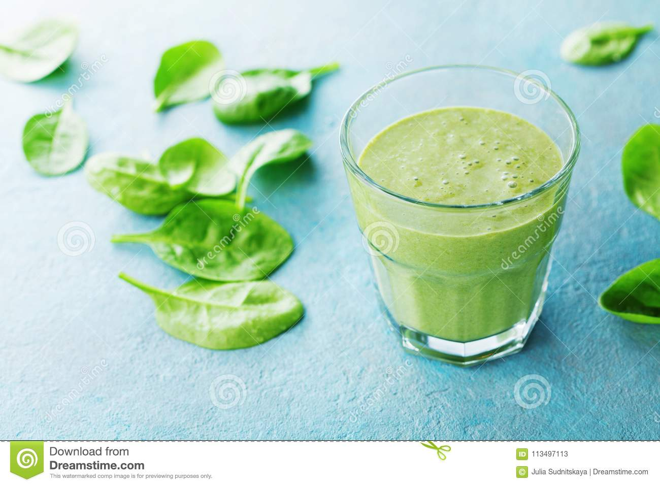 Green Spinach Smoothie In Glass For Healthy Breakfast Stock Image