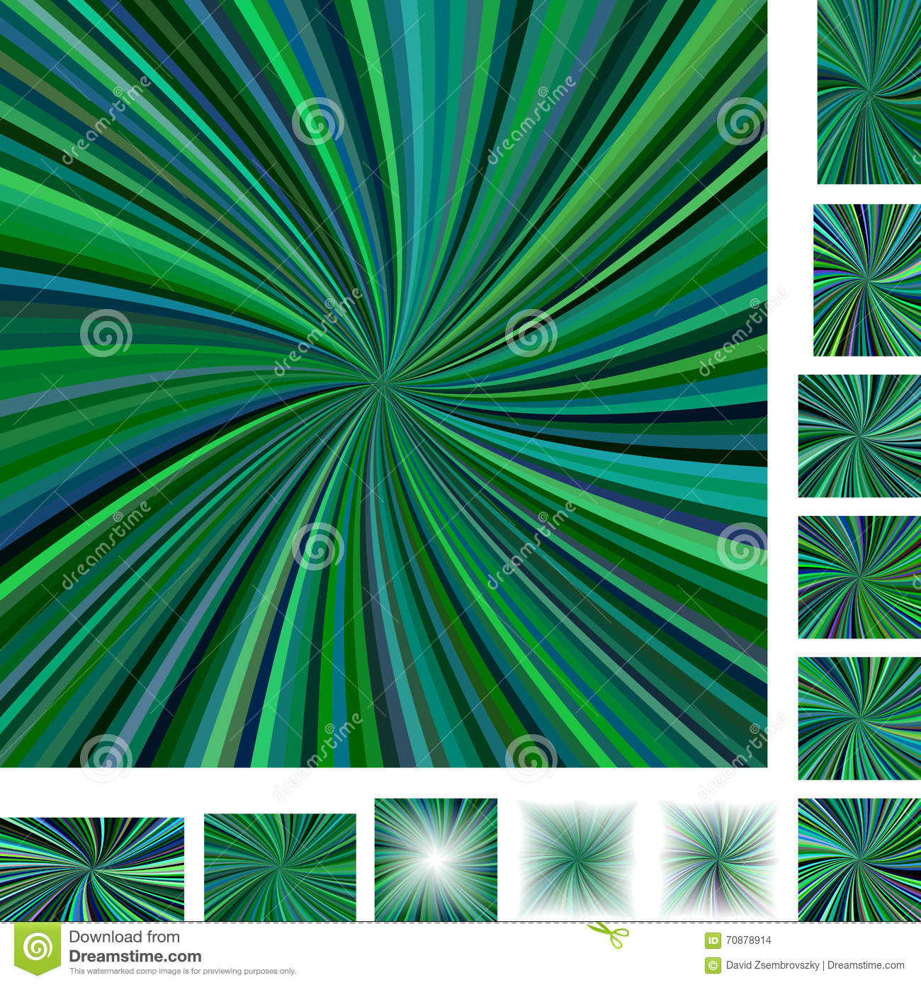 Green spiral background set