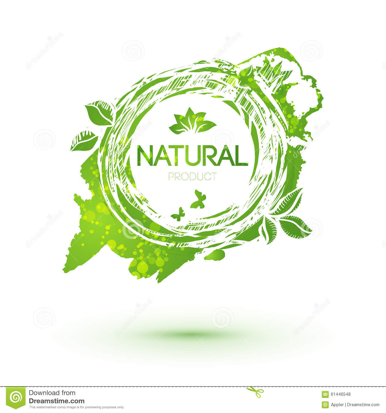 Green splash logo with leaves for natural products
