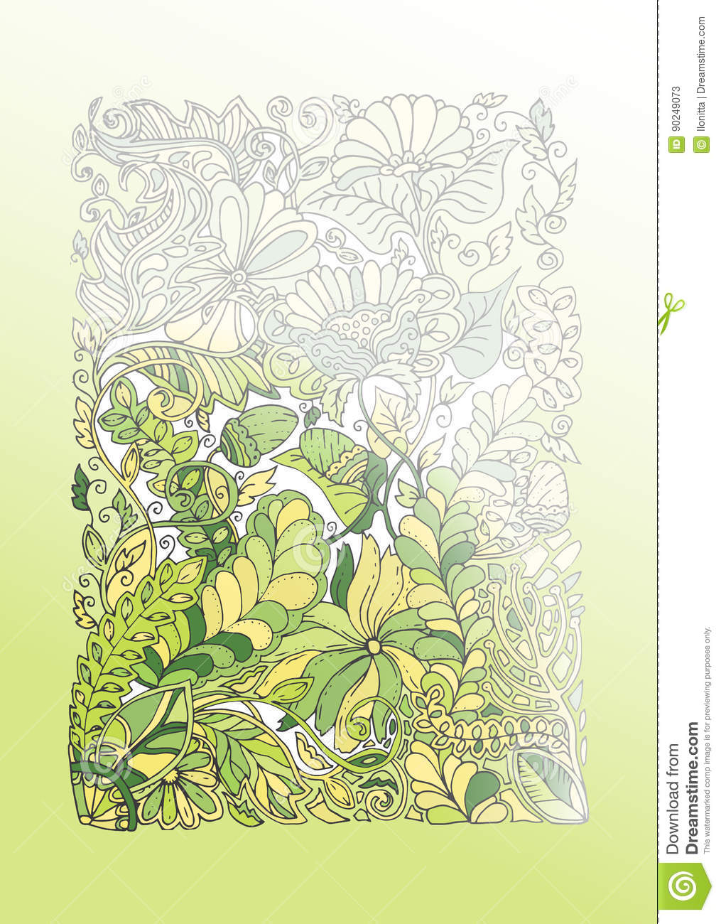 Green Spring Doodle Illustration, Half Coloring Stock Vector ...