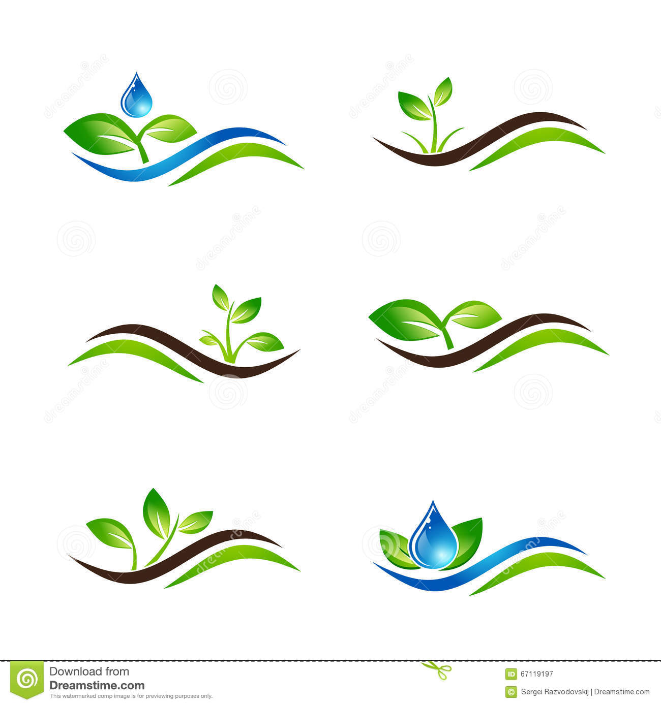 Green sprout landscape icon or logo design set stock for Paysagiste logo