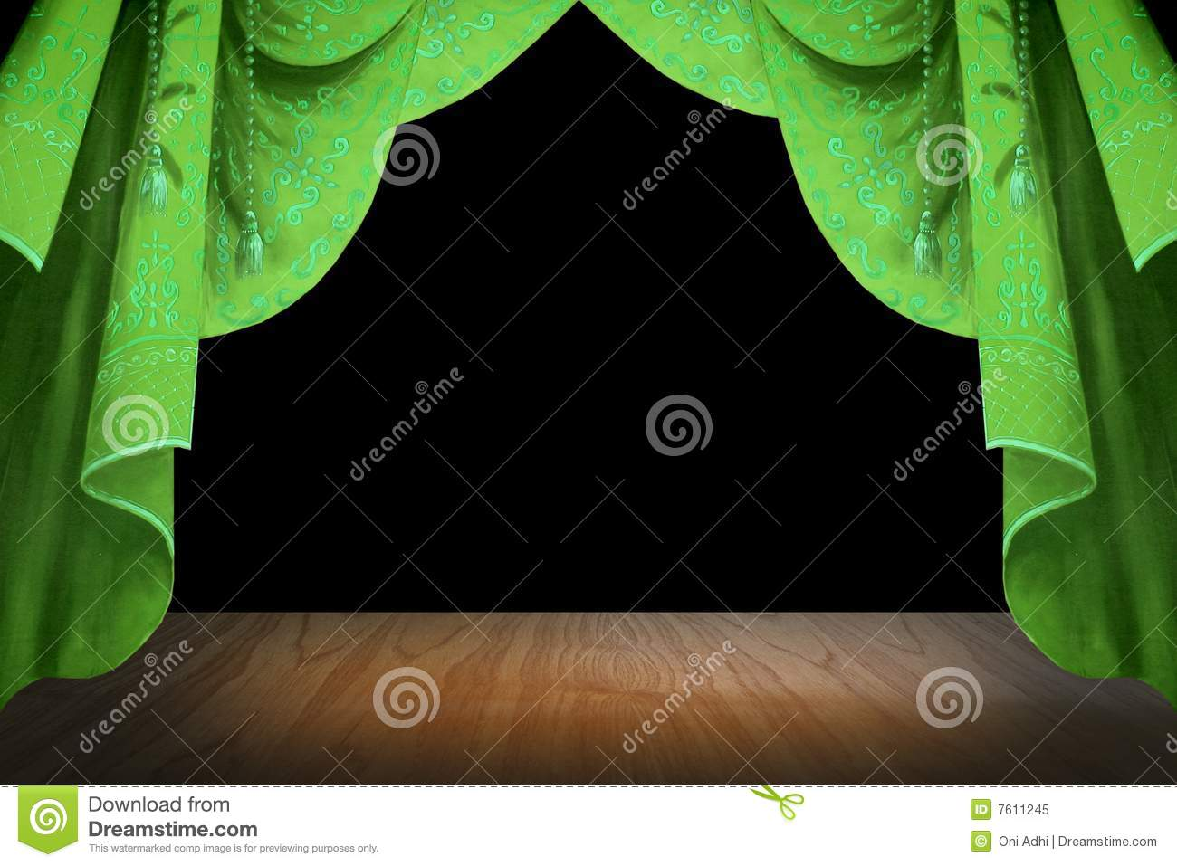 Green stage curtains - Green Stage Curtain Royalty Free Stock Photo