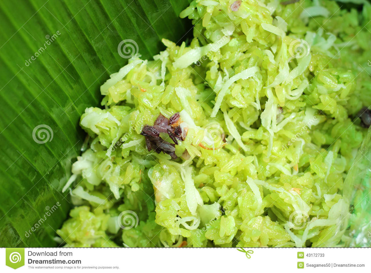Green Sticky Rice With Coconut Milk Stock Photo - Image: 43172733