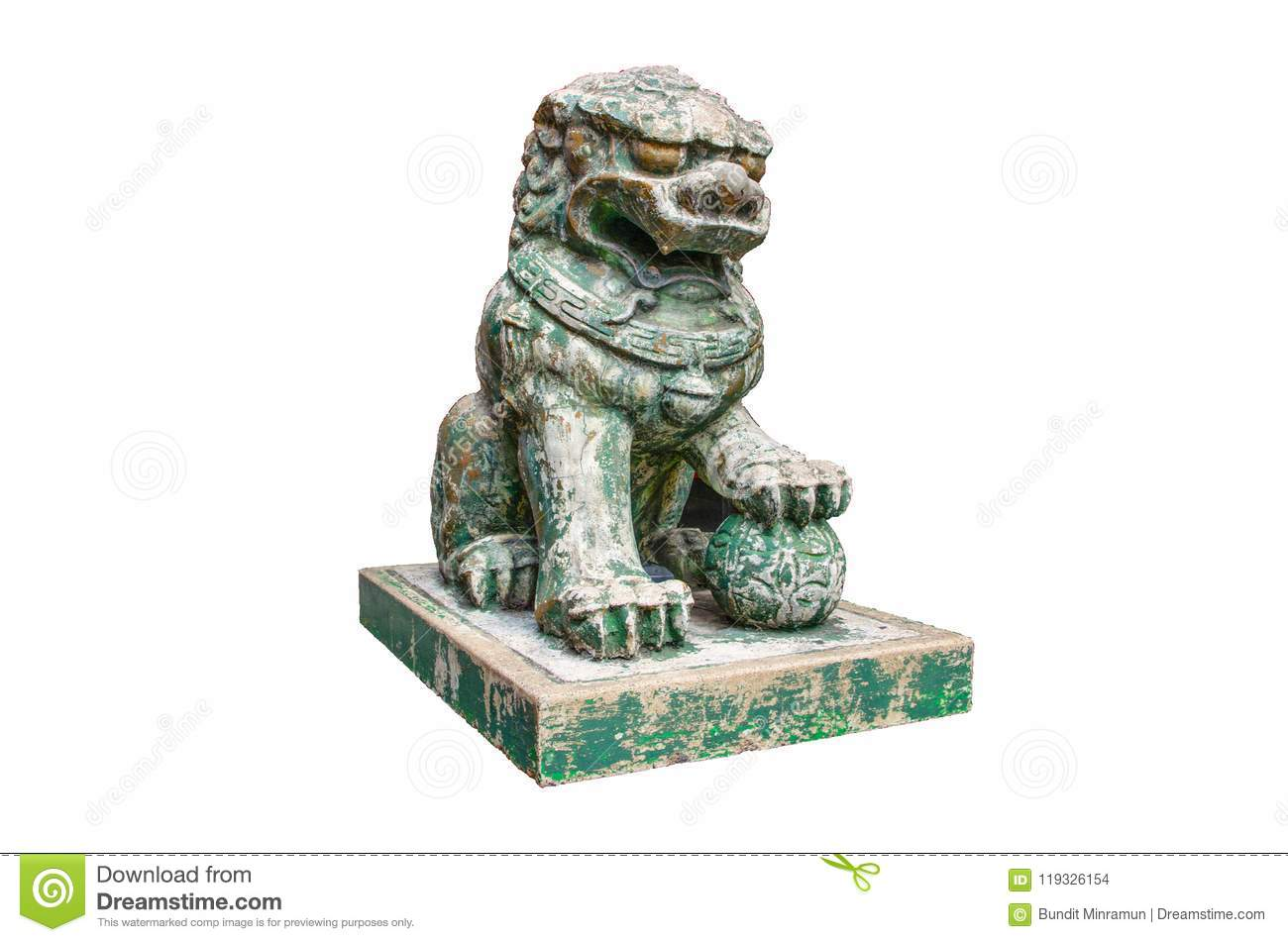 Green stone ancient chinese guardian lion statue isolated on white background.