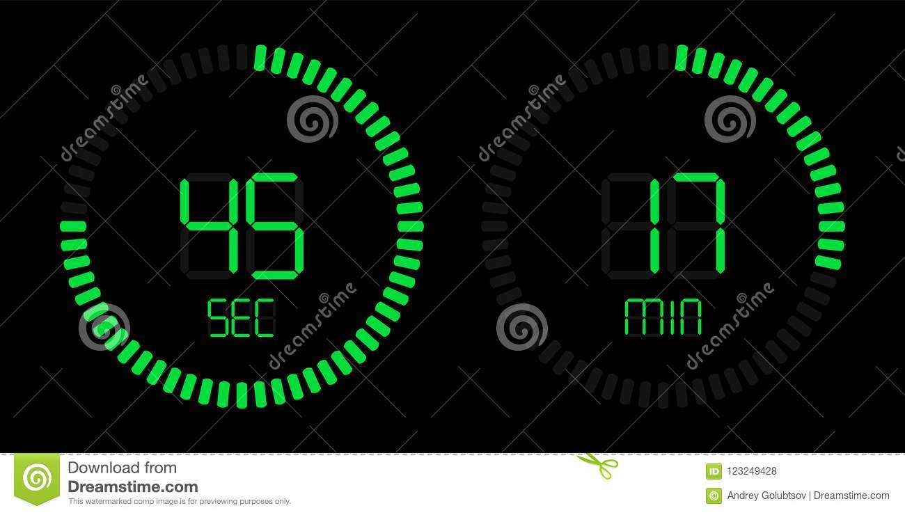 green stopwatch countdown digital timer stock vector illustration