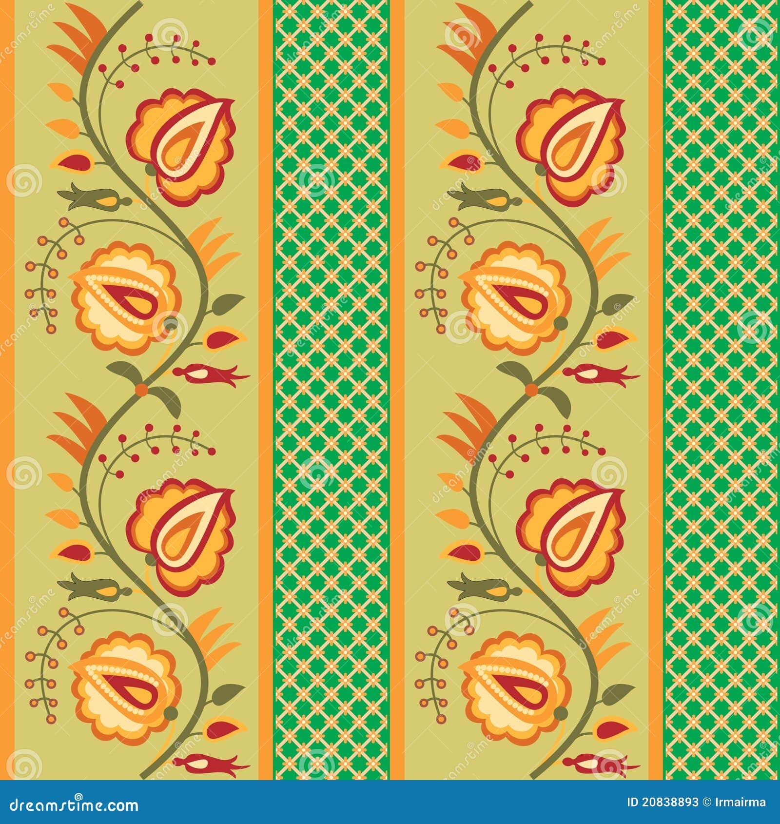 Green Striped Floral Wallpaper Stock Vector Illustration Of