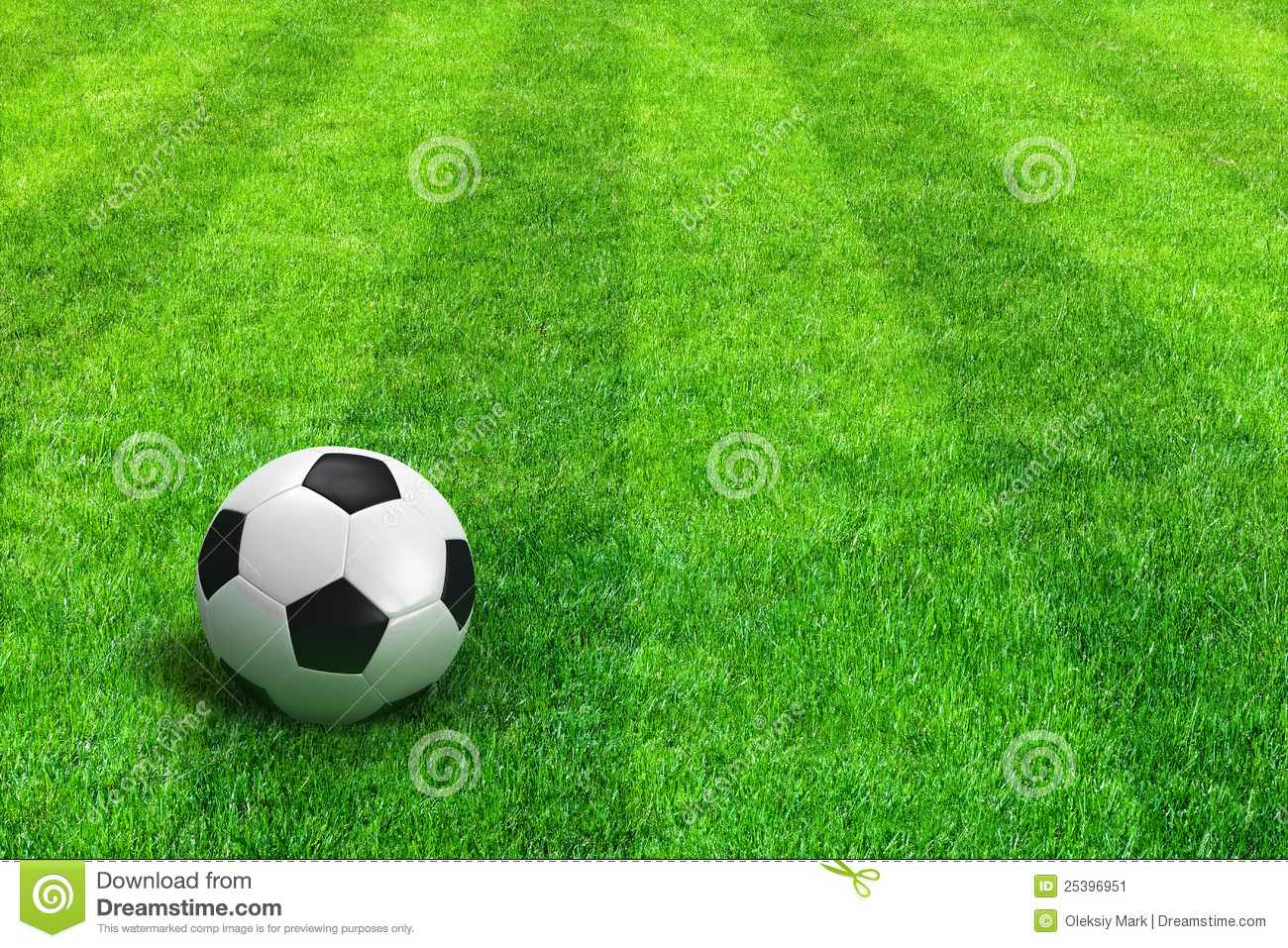 Green Striped Football Field With Soccer Ball Stock ...