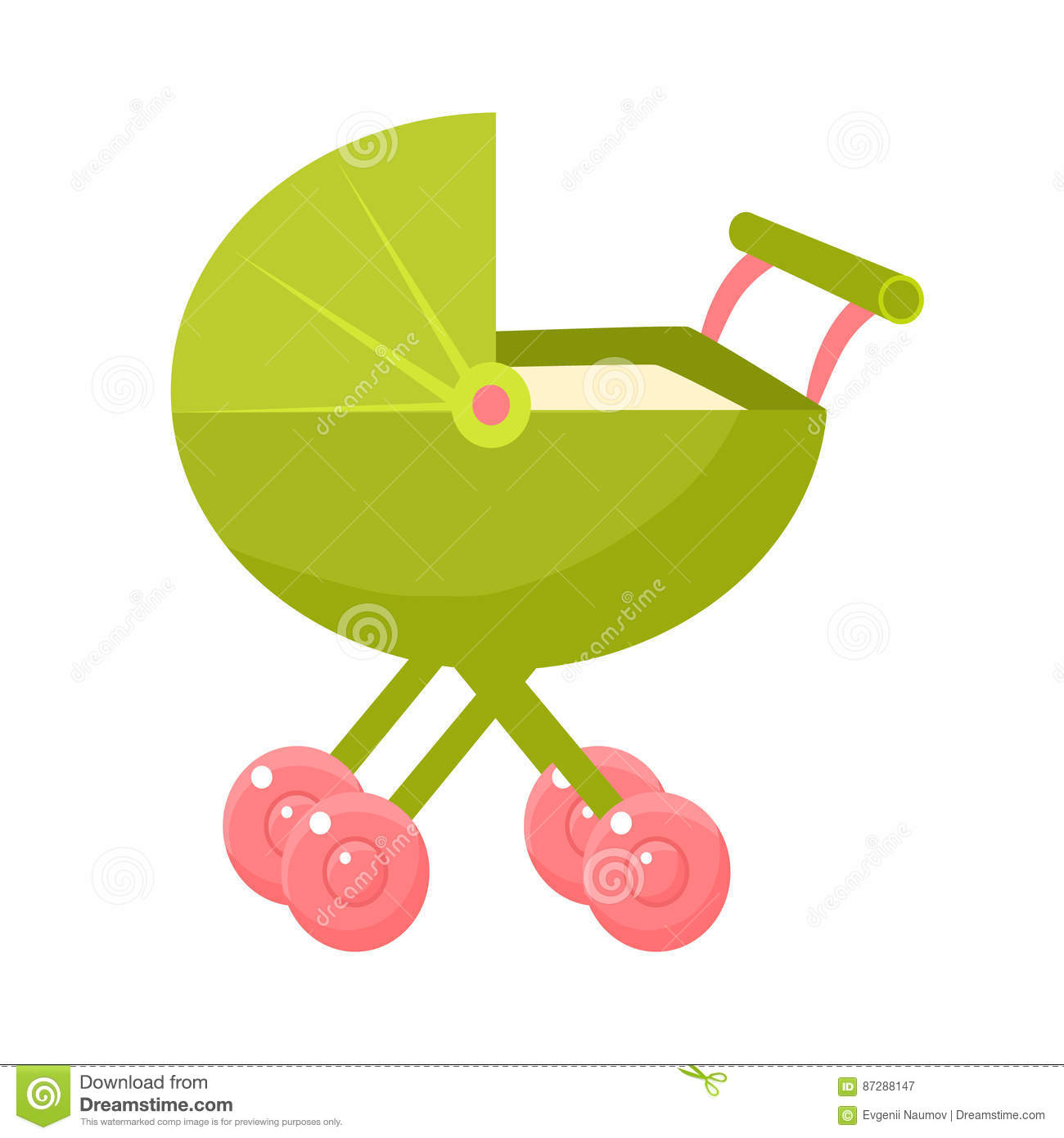 Green Stroller With Pink Wheels And Closed Hood Object From Baby