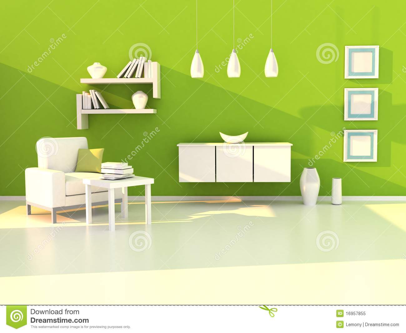 Green Study Room Modern Room Living Room Royalty Free