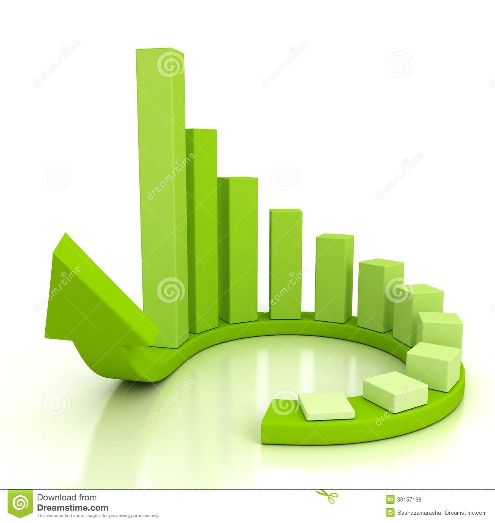 Green Success Business Bar Chart On Circle Growing Arrow Royalty Free Stock Image Image 30157136