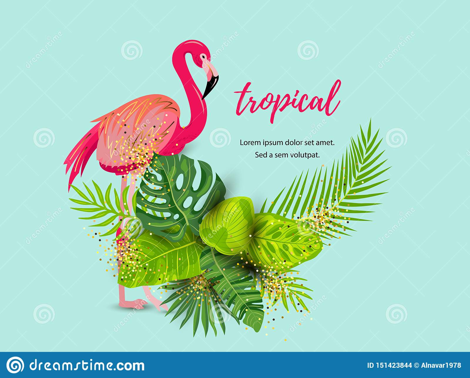 Green summer tropical background with pink flamingo and exotic leaves