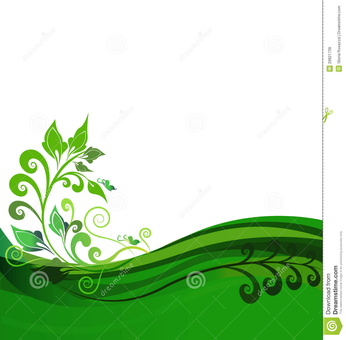 Green Floral Backgroun...Clipart Flowers And Butterflies Border