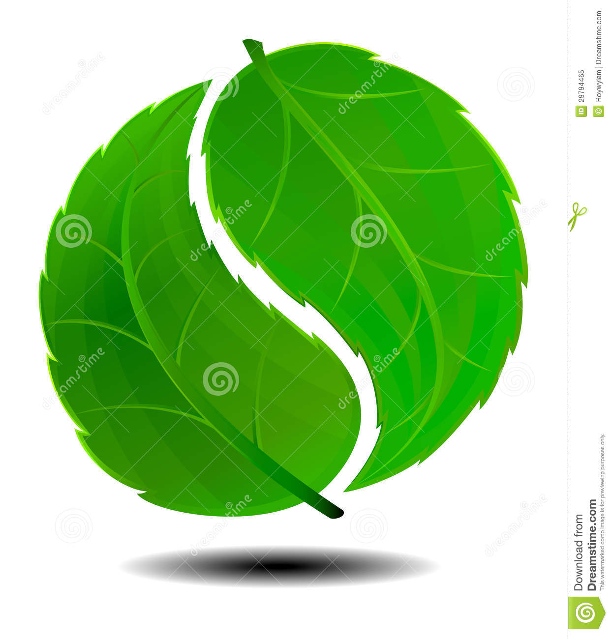 Yin yang green symbol logo stock vector image of growth Green plans